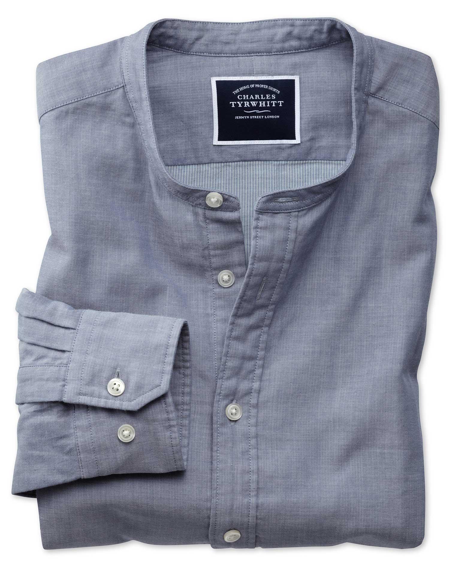 Slim Fit Collarless Chambray Cotton Shirt Single Cuff Size XS by Charles Tyrwhitt