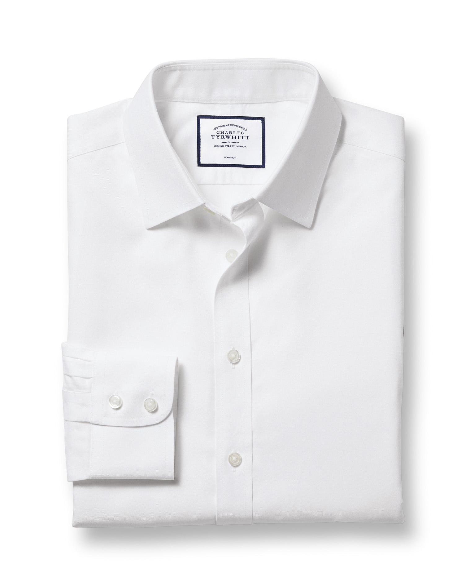 Cotton Slim Fit White Non-Iron Twill Shirt