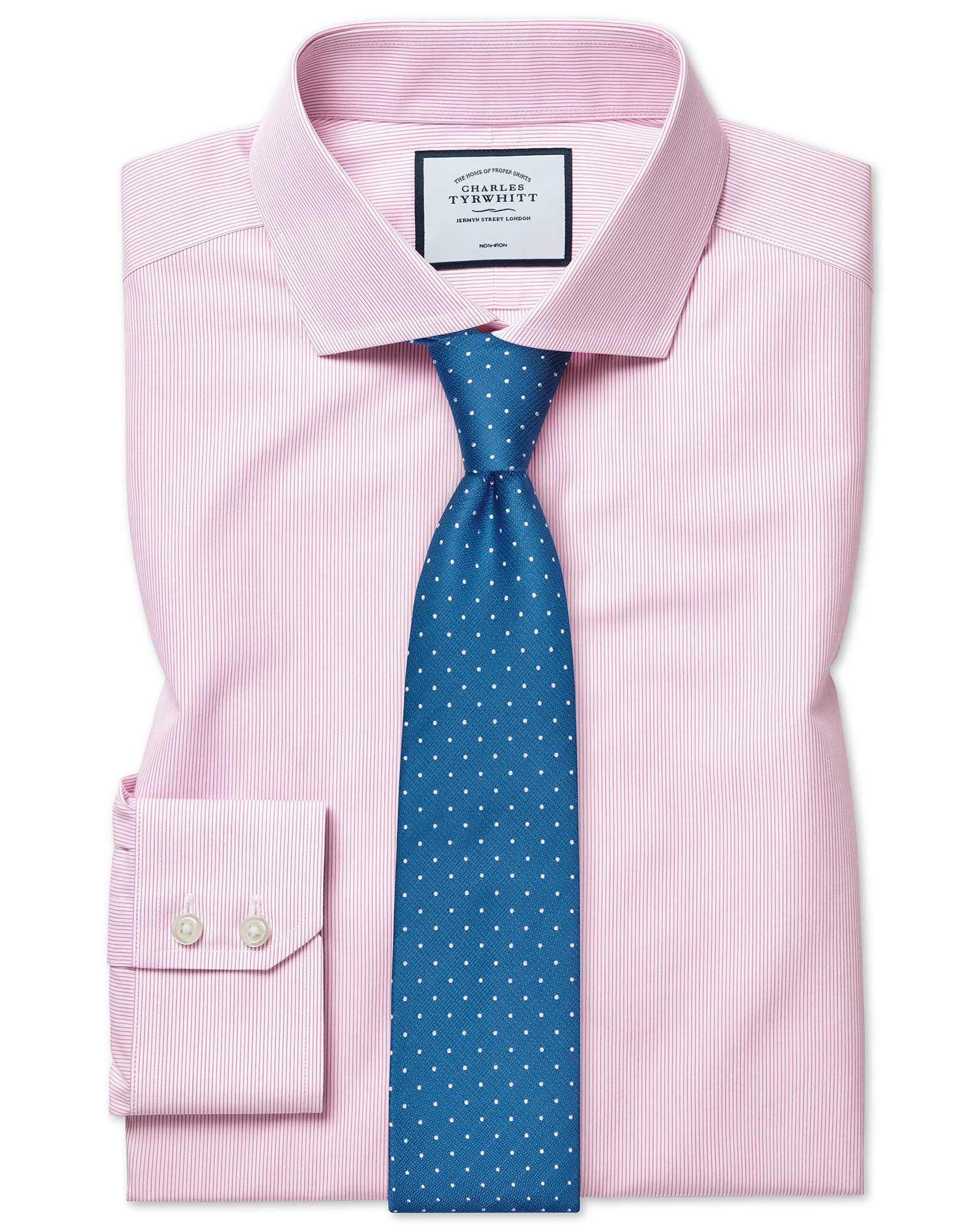 Cotton Slim Fit Non-Iron Tyrwhitt Cool Poplin Pink Stripe Shirt