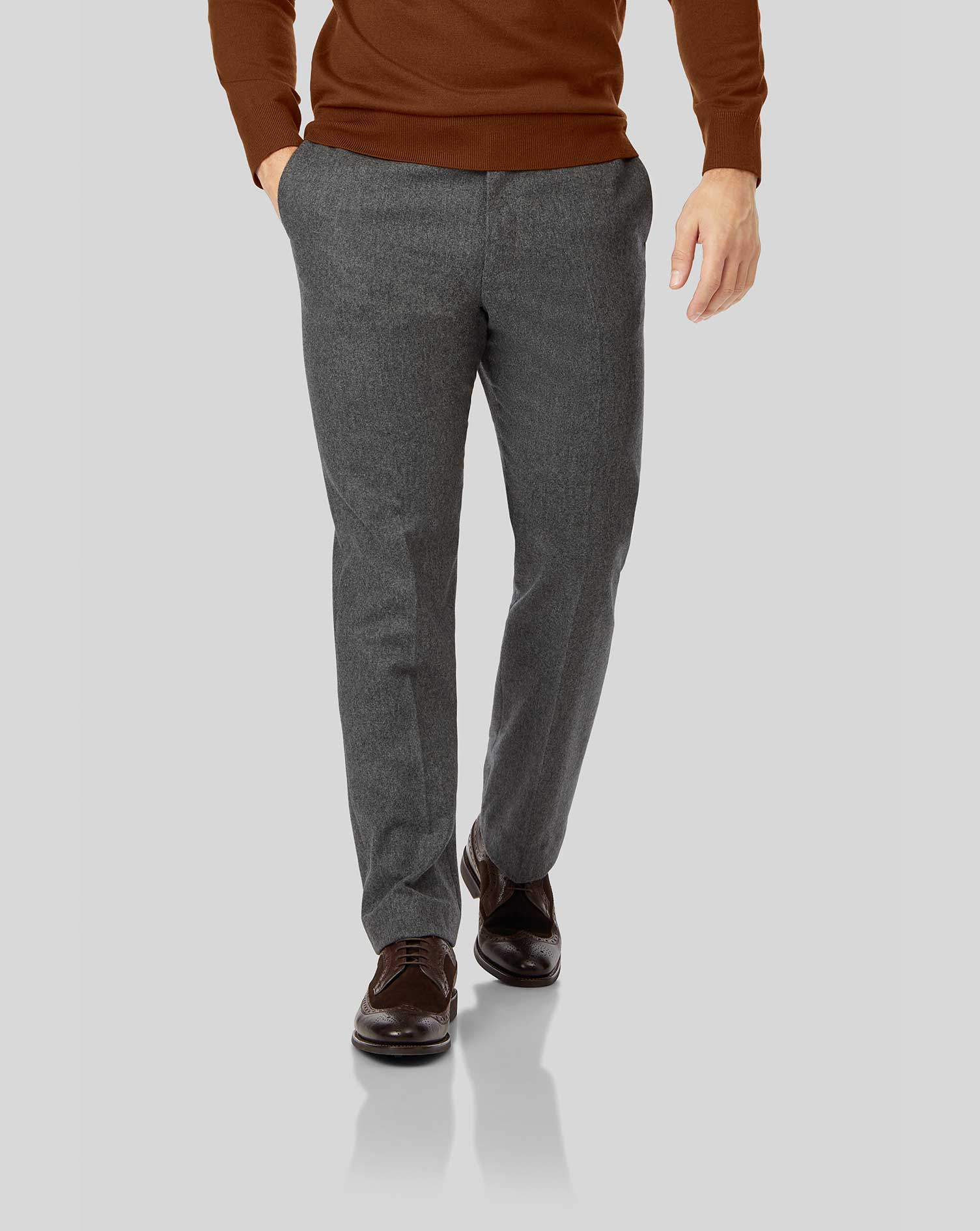 Wool Grey Flannel Trousers