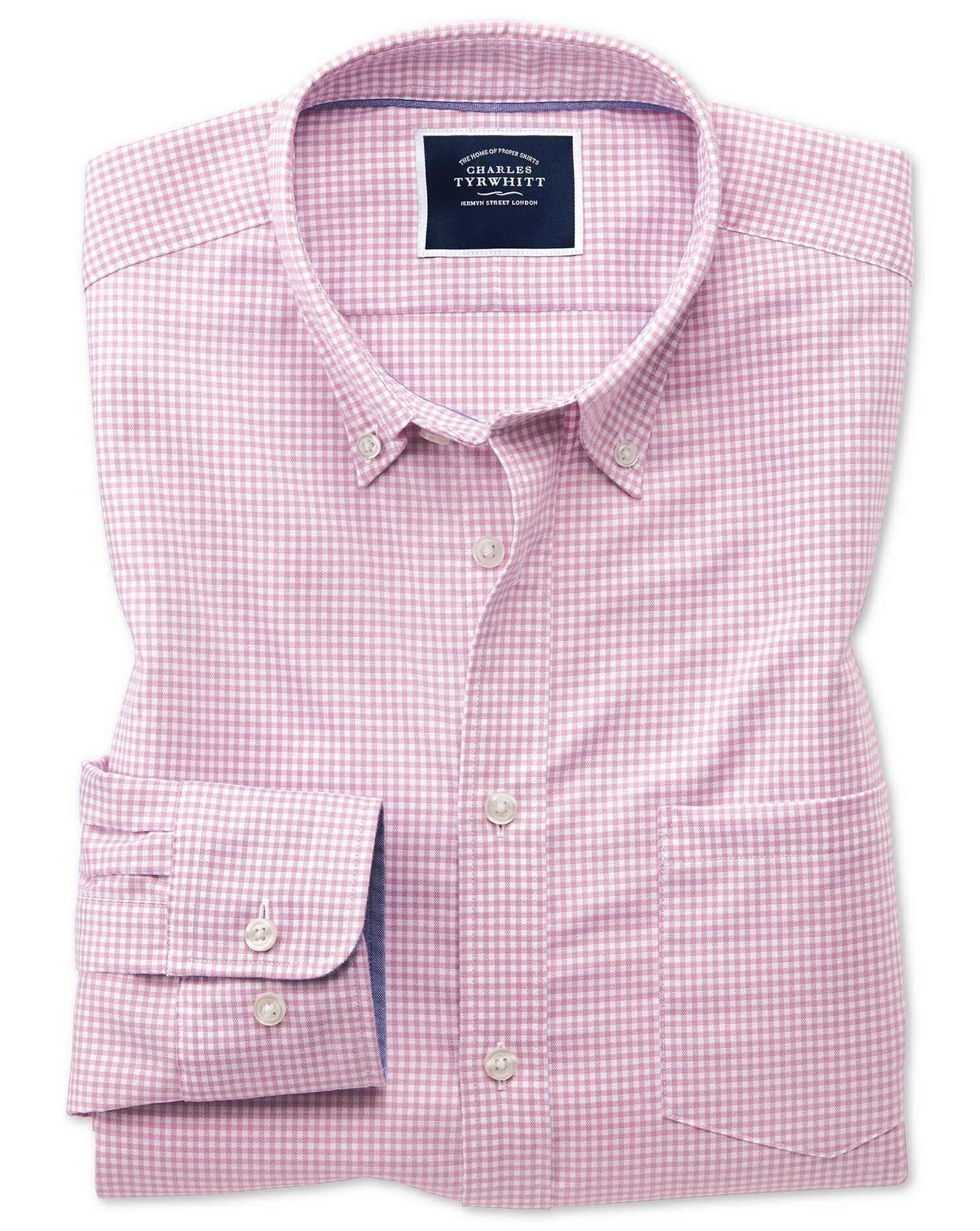 Slim Fit Pink Gingham Soft Washed Non-Iron Stretch Cotton Shirt Single Cuff Size XS by Charles Tyrwh
