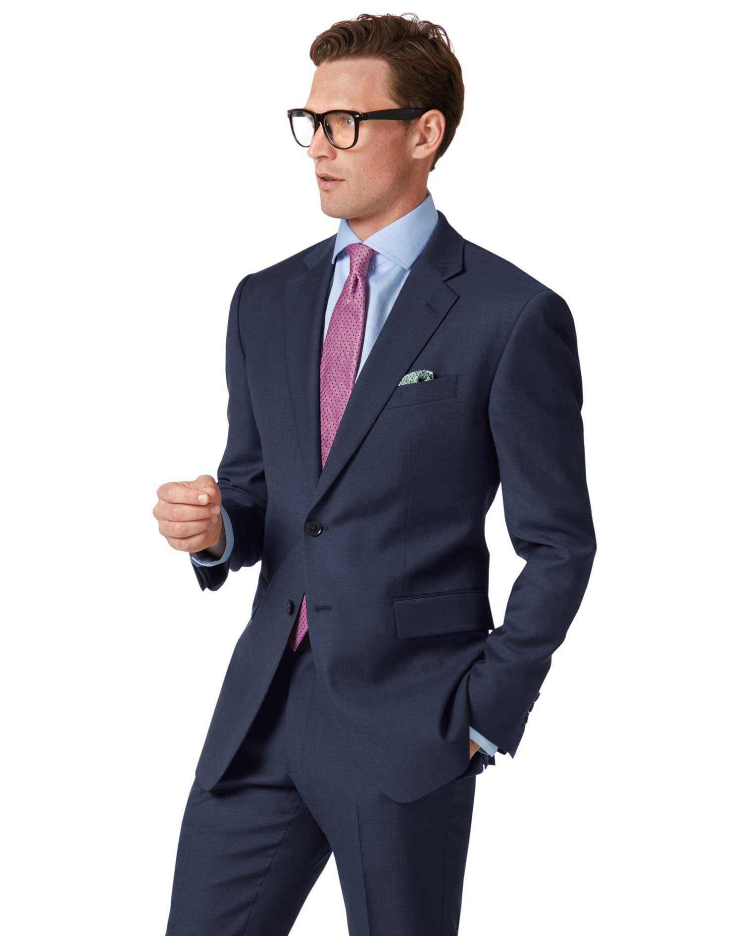 Wool Mid Blue Slim Fit Twill Business Suit Jacket