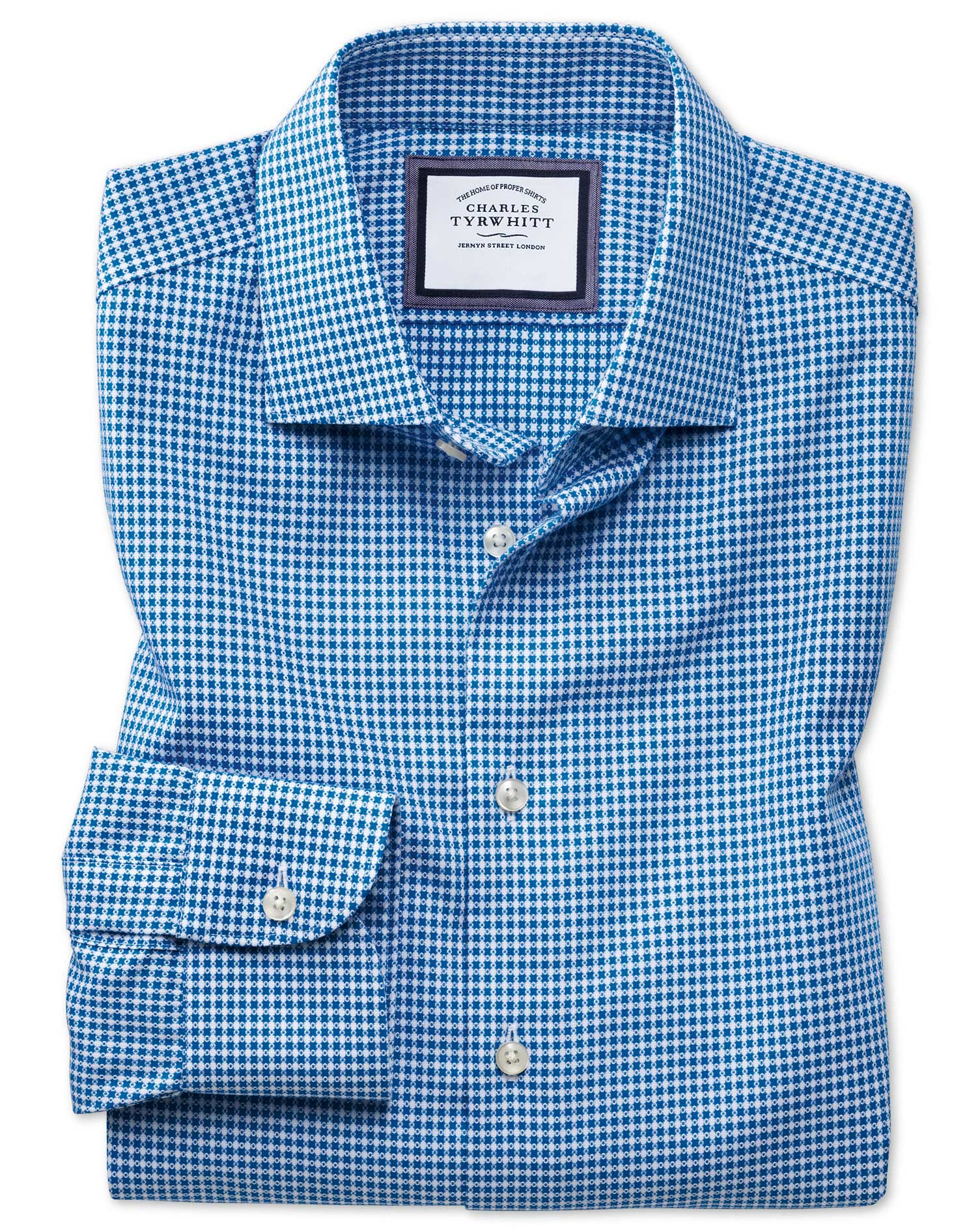 Classic Fit Semi-Cutaway Business Casual Non-Iron Modern Textures Blue and White Spot Cotton Formal