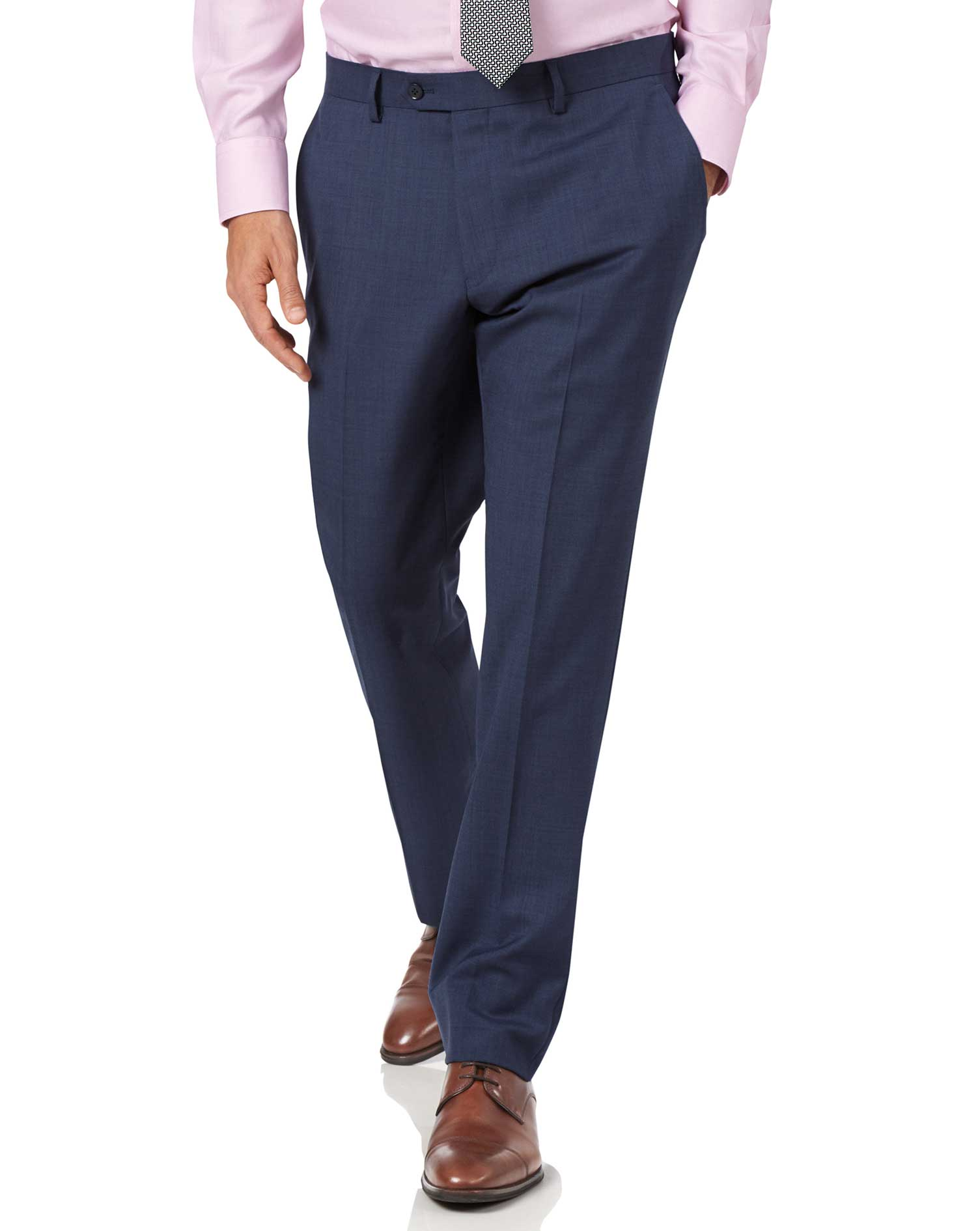 Image of Charles Tyrwhitt Airforce Blue Slim Fit Sharkskin Travel Suit Trousers Size W76 L97 by Charles Tyrwhitt