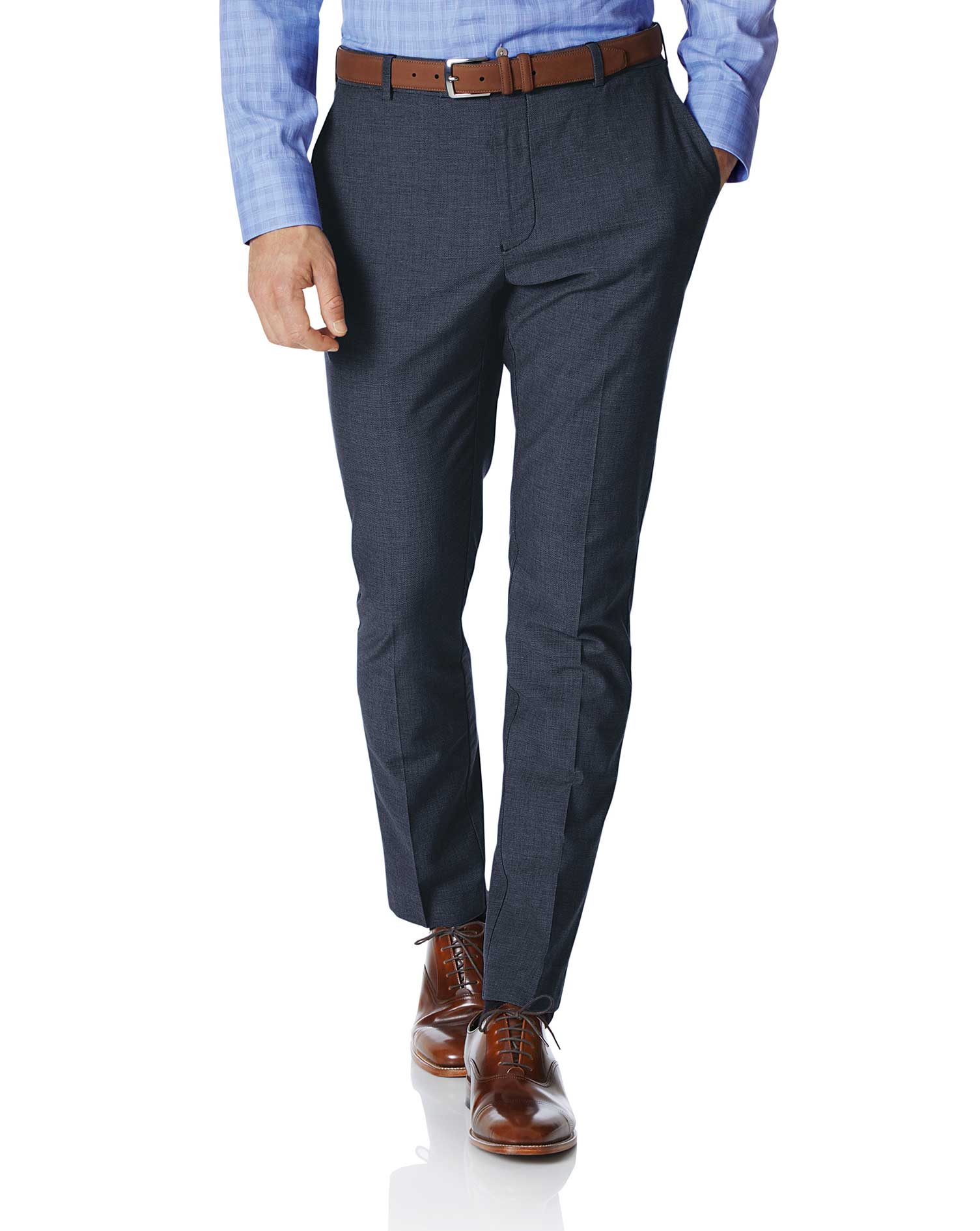 Navy Extra Slim Fit Stretch Non-Iron Trousers Size W36 L32 by Charles Tyrwhitt