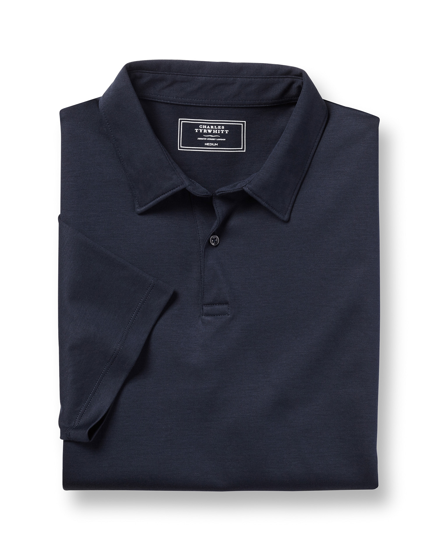 Plain Navy Jersey Cotton Polo Size Small by Charles Tyrwhitt