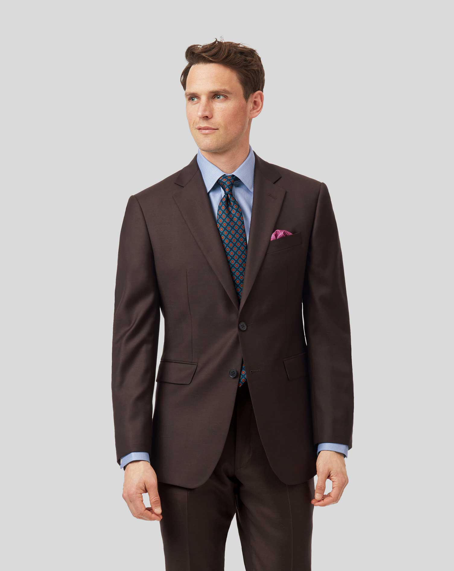 Wool Brown Slim Fit Twill Business Suit Jacket