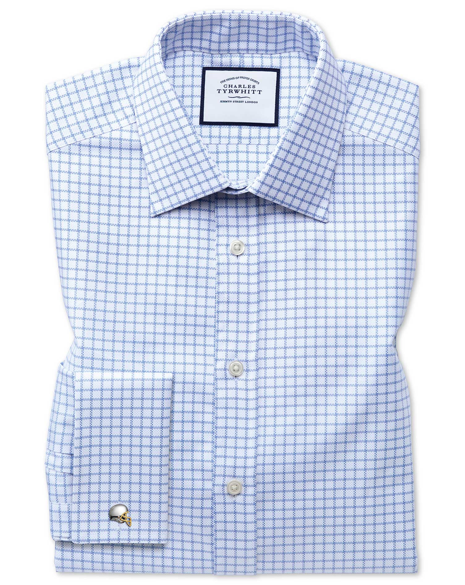 Extra Slim Fit Egyptian Cotton Royal Oxford Sky Blue Check Formal Shirt Double Cuff Size 15/32 by Ch