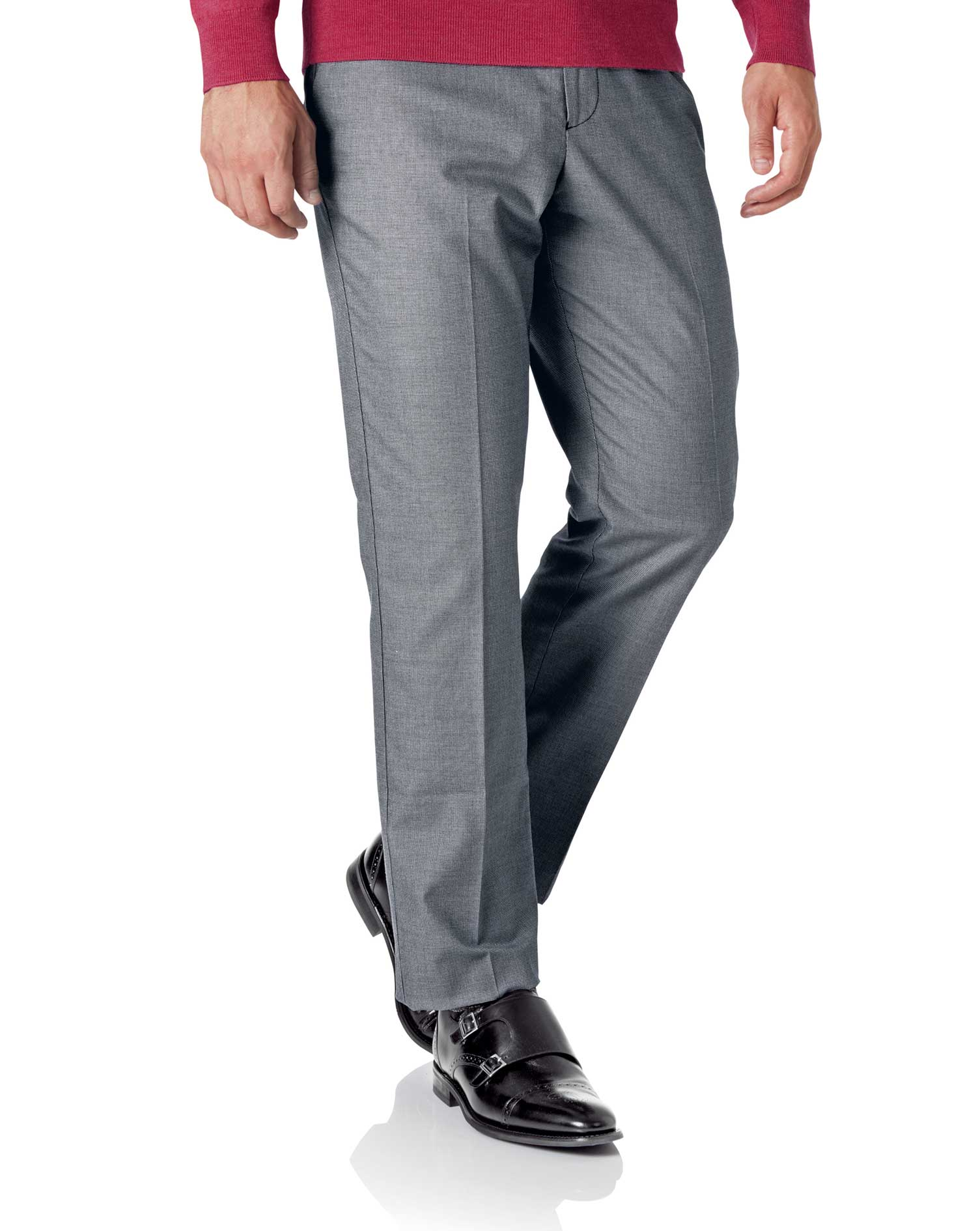 White and Navy Classic Fit Stretch Non-Iron Trousers Size W36 L34 by Charles Tyrwhitt