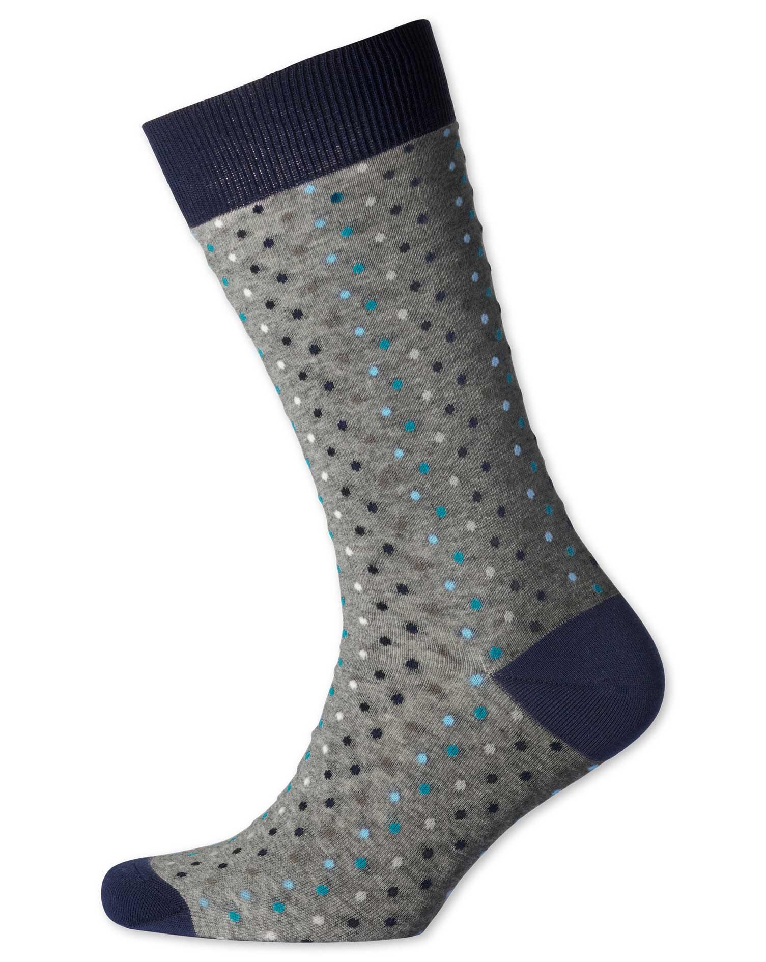 Grey Multi Dot Socks Size Medium by Charles Tyrwhitt
