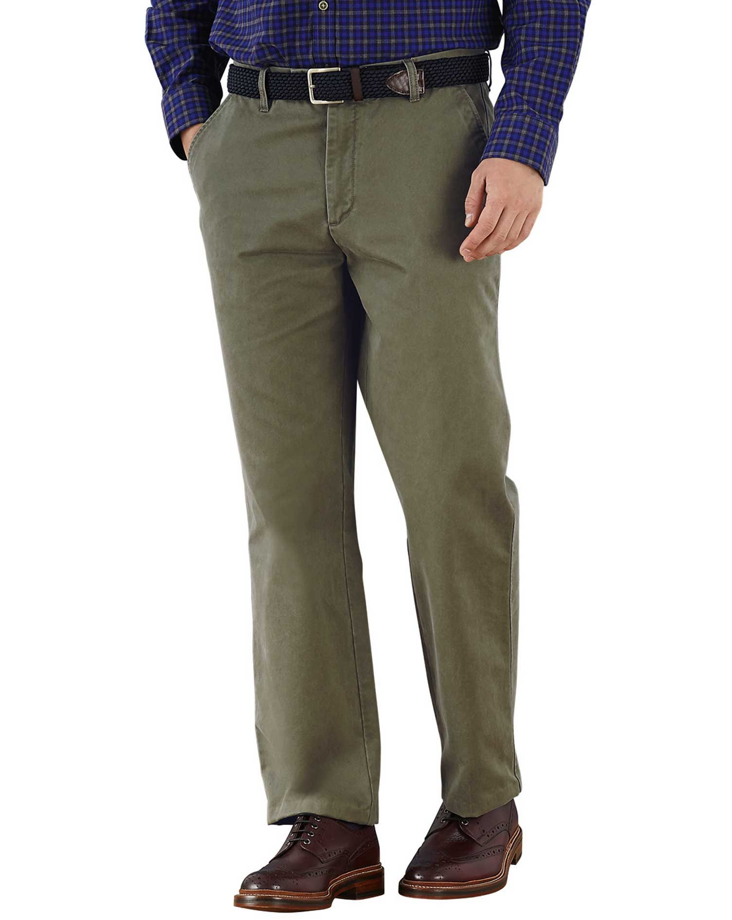 Olive Classic Fit Flat Front Cotton Chino Trousers Size W32 L29 by Charles Tyrwhitt