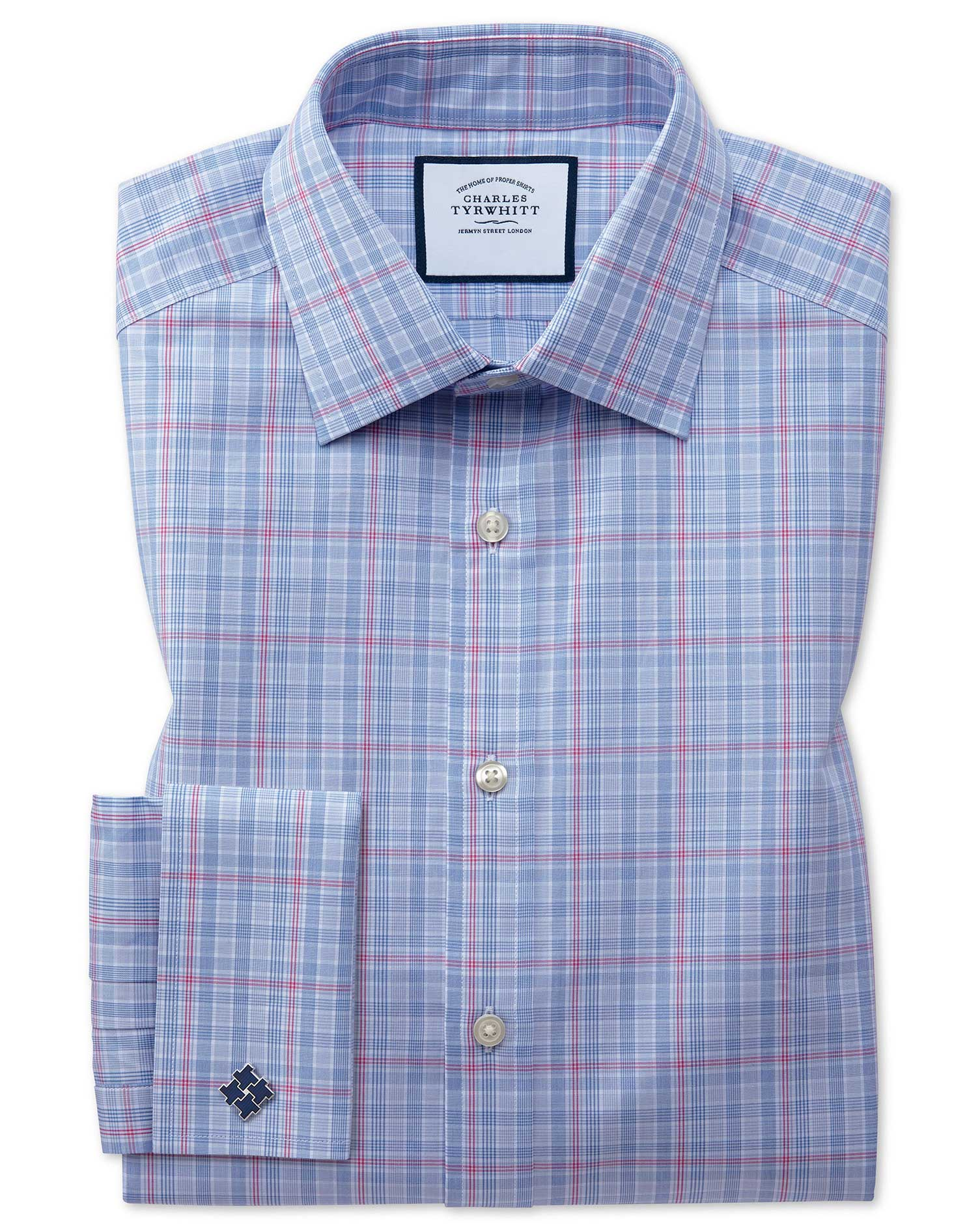 Slim Fit Blue and Pink Prince Of Wales Check Cotton Formal Shirt Single Cuff Size 14.5/32 by Charles