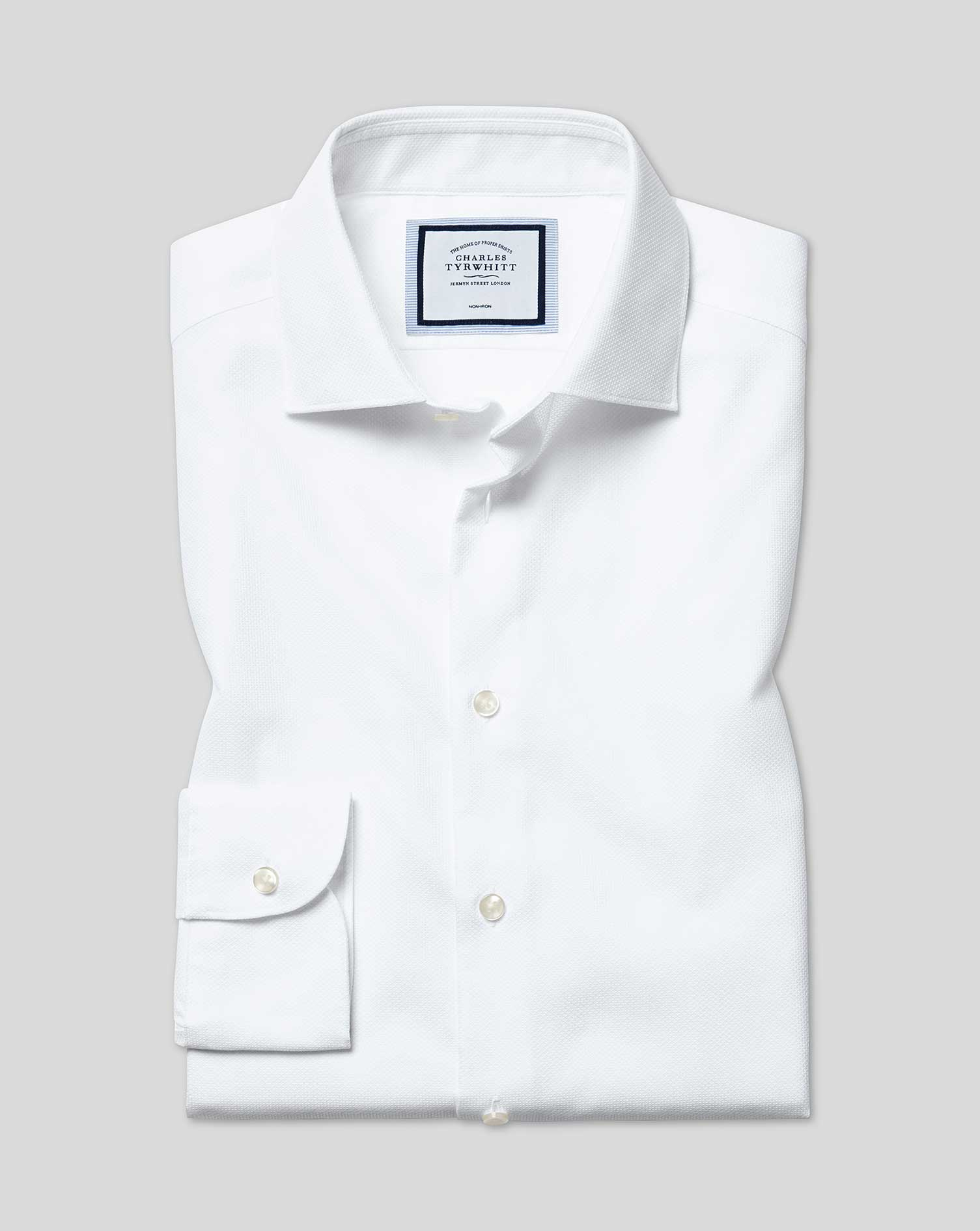 Extra Slim Fit Non-Iron Natural Stretch White Cotton Formal Shirt Single Cuff Size 17/35 by Charles