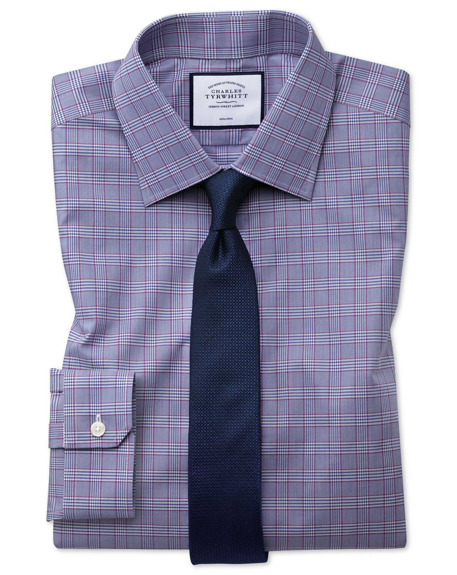 Super Slim Fit Non-Iron Berry and Navy Prince Of Wales Check Cotton Formal Shirt Double Cuff Size 16