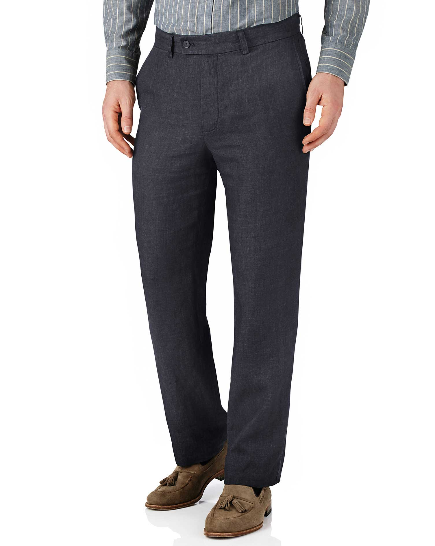 Navy Classic Fit Linen Trousers Size W40 L30 by Charles Tyrwhitt