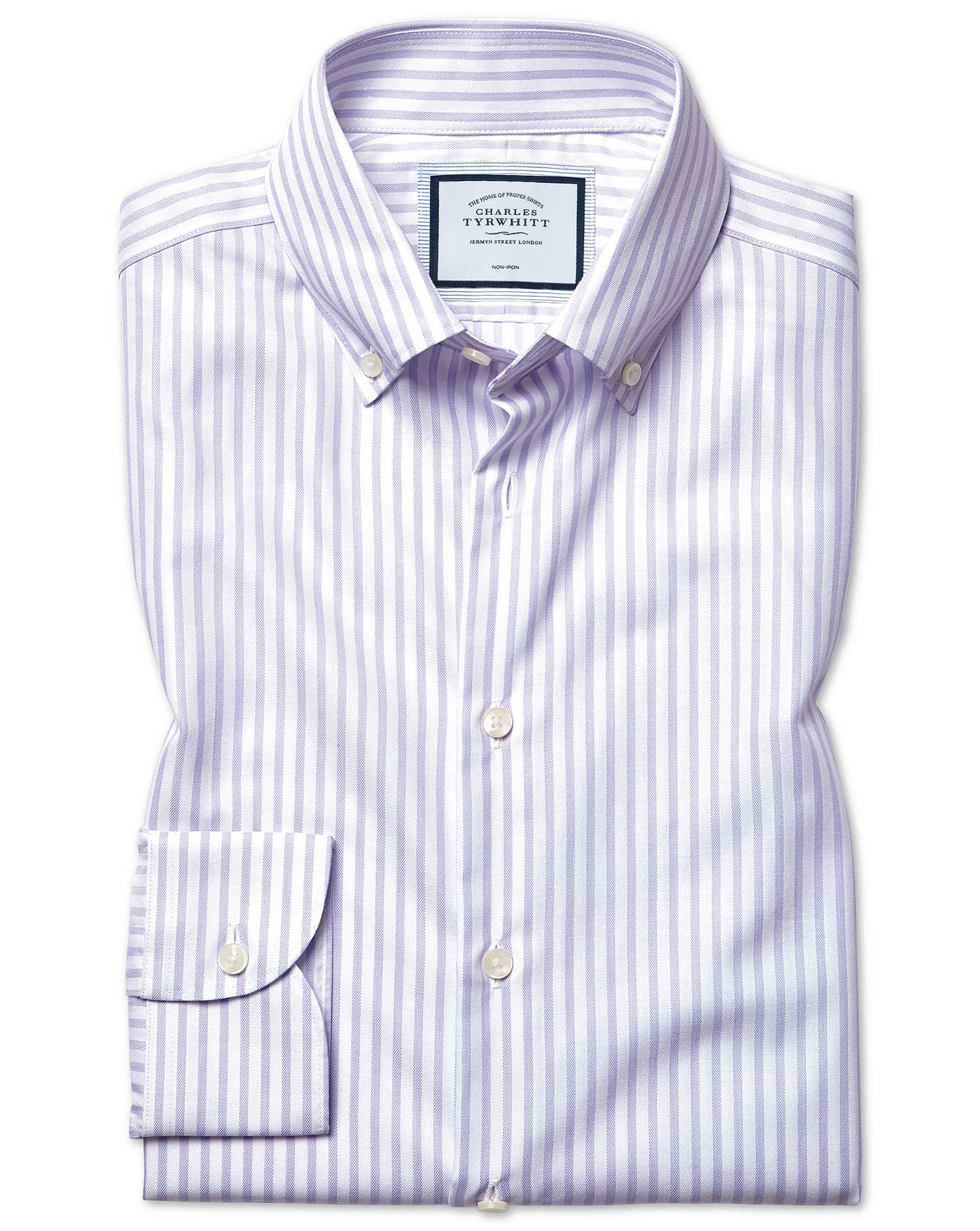 Cotton Tencel Classic Fit Business Casual Non-Iron With Tencel™ Lilac Stripe Shirt