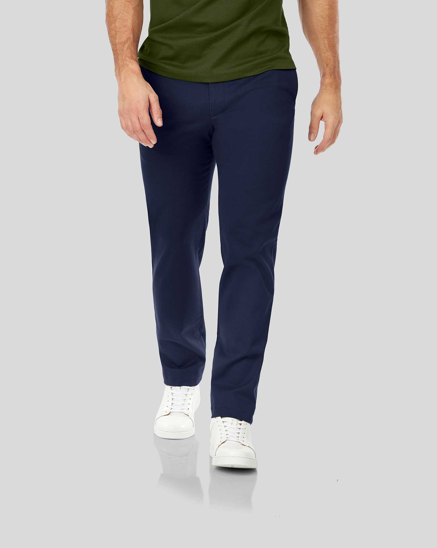 Dark Blue Non-Iron Ultimate Cotton Chino Trousers Size W34 L38 by Charles Tyrwhitt