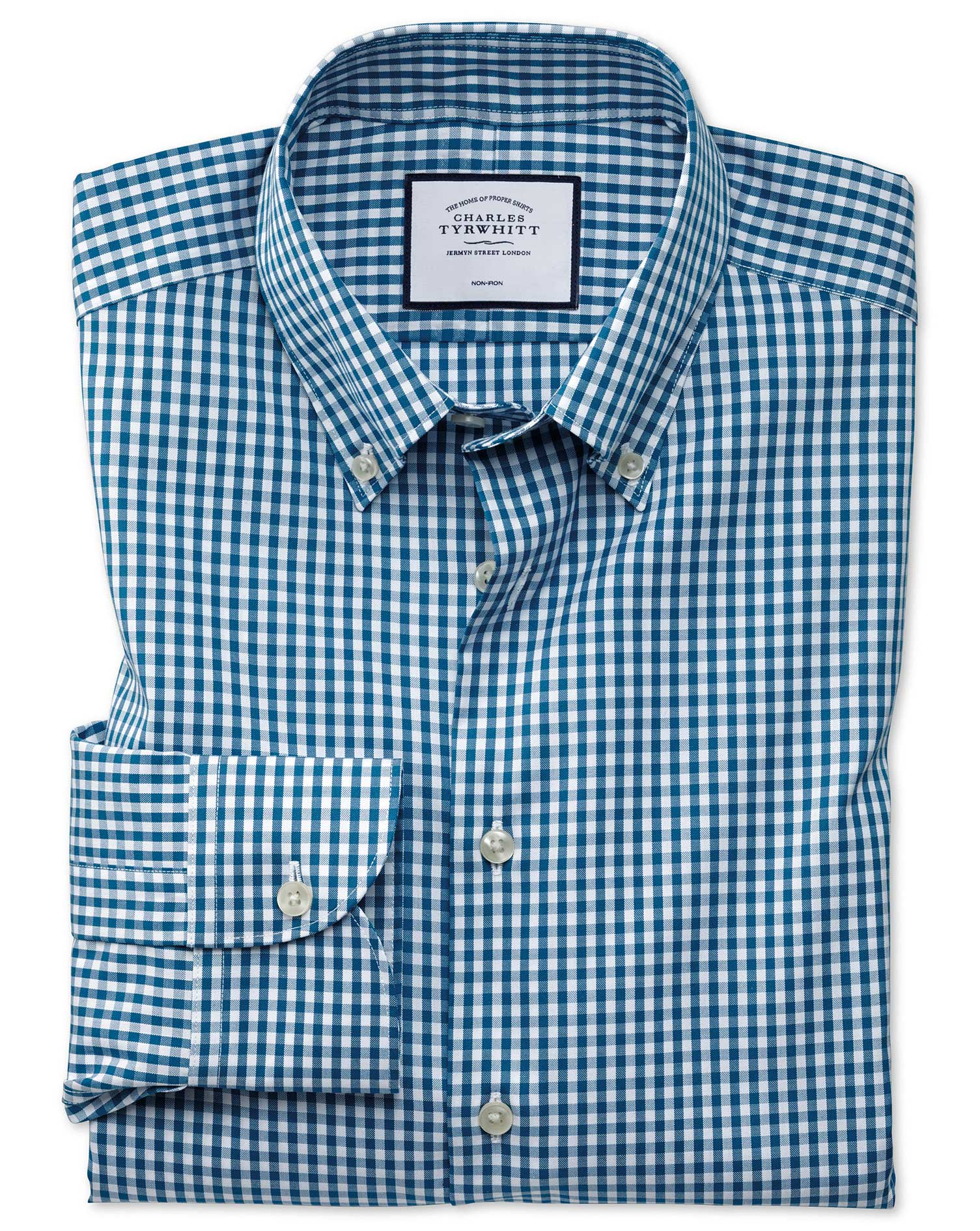 Slim Fit Business Casual Non-Iron Button-Down Teal Check Cotton Formal Shirt Single Cuff Size 16.5/3