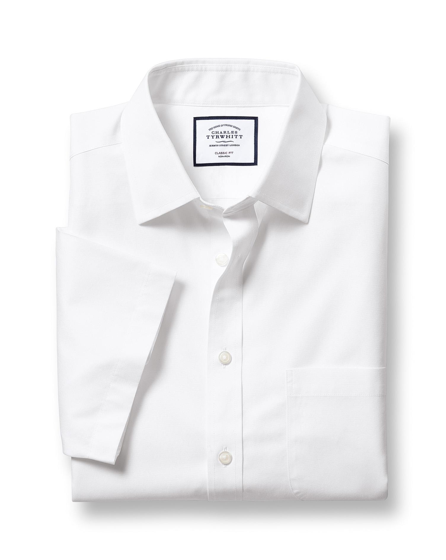 Cotton Classic Fit Non-Iron White Tyrwhitt Cool Short Sleeve Shirt