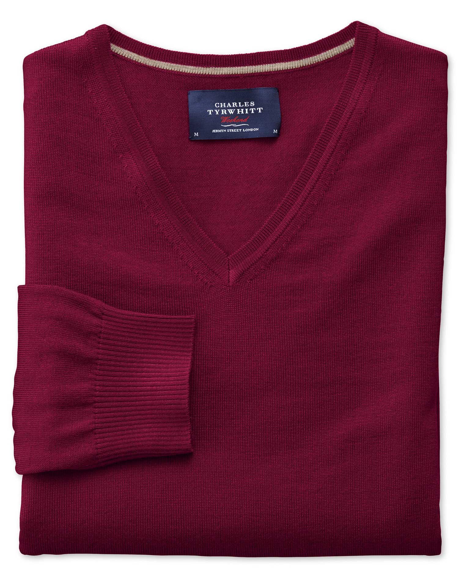 Dark Red Merino Wool V-Neck Jumper Size XXL by Charles Tyrwhitt
