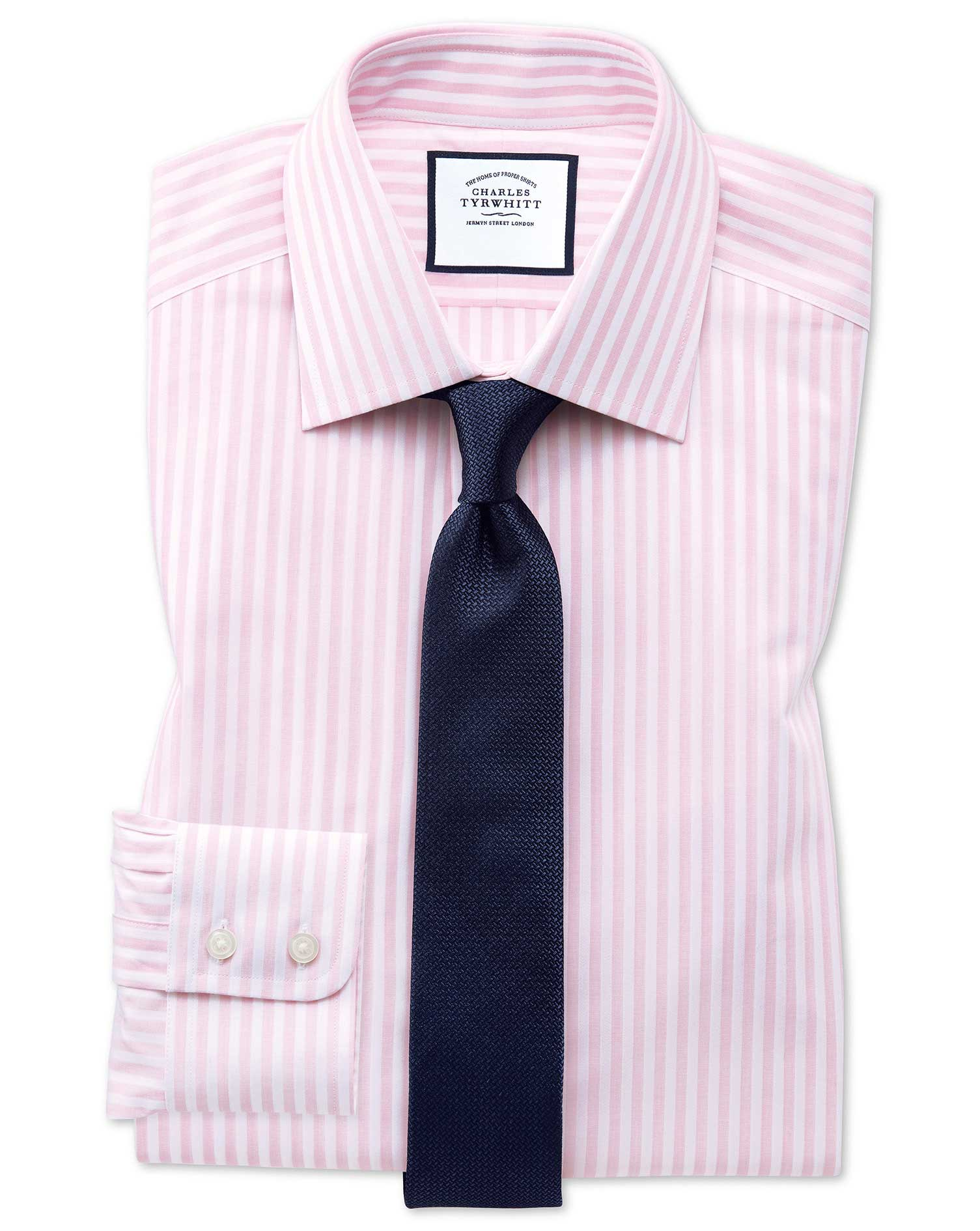 Extra Slim Fit Pink and White Dobby Textured Stripe Cotton Formal Shirt Single Cuff Size 16/35 by Ch