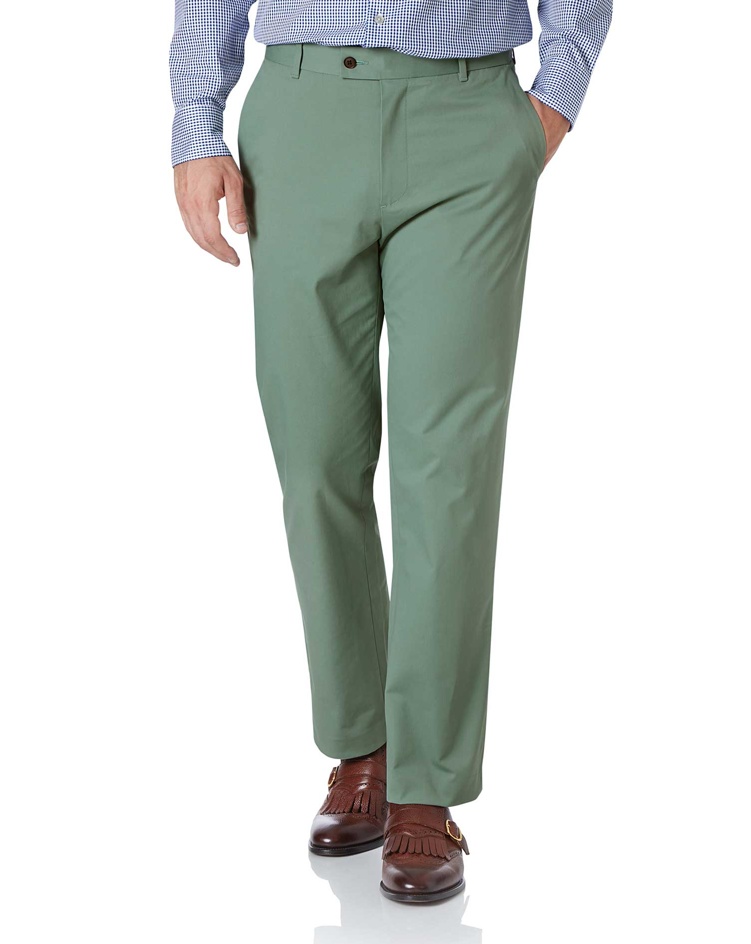 Light Green Classic Fit Stretch Cotton Chino Trousers Size W34 L30 by Charles Tyrwhitt