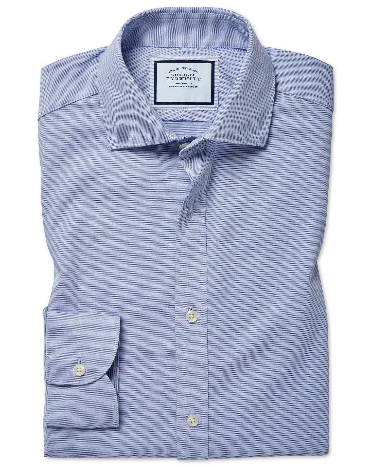 Cotton Slim Fit Travel Blue Shirt