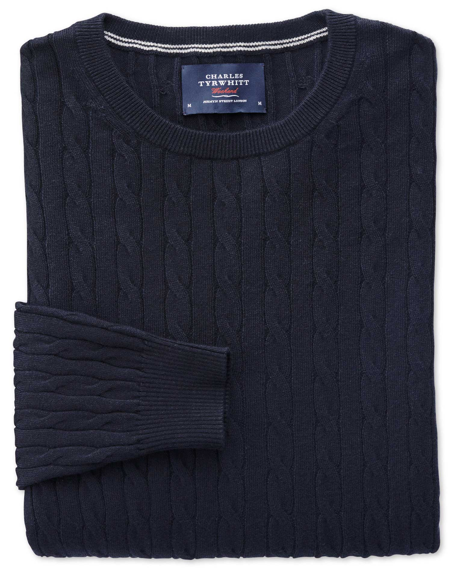 Navy Cotton Cashmere Cable Crew Neck Jumper Size XXL by Charles Tyrwhitt