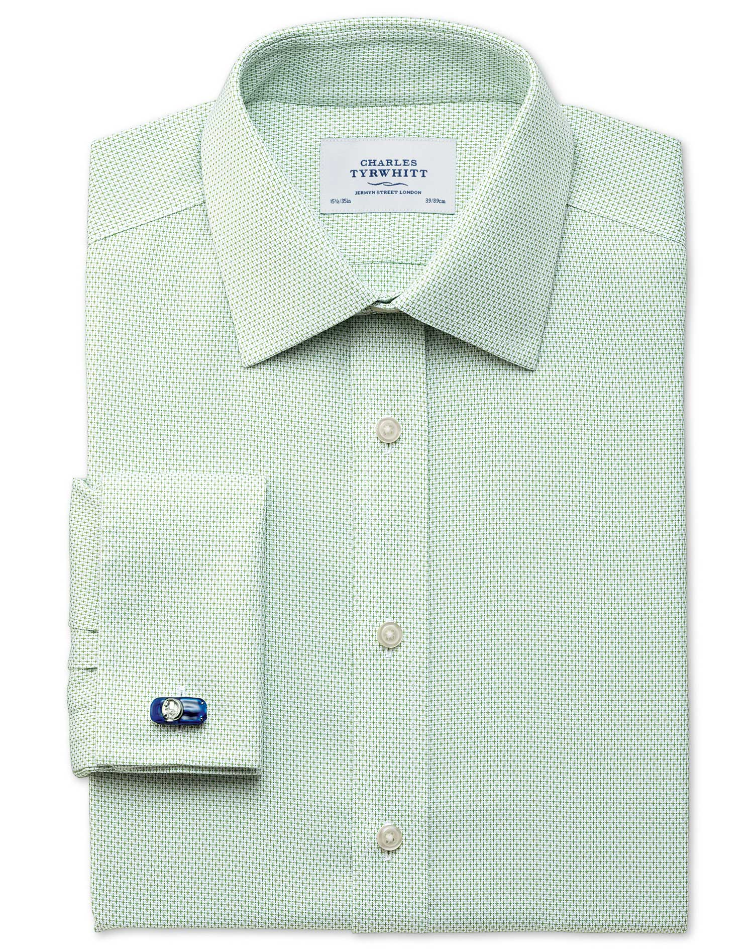 Classic Fit Non-Iron Imperial Weave Light Green Cotton Formal Shirt Single Cuff Size 15.5/35 by Char