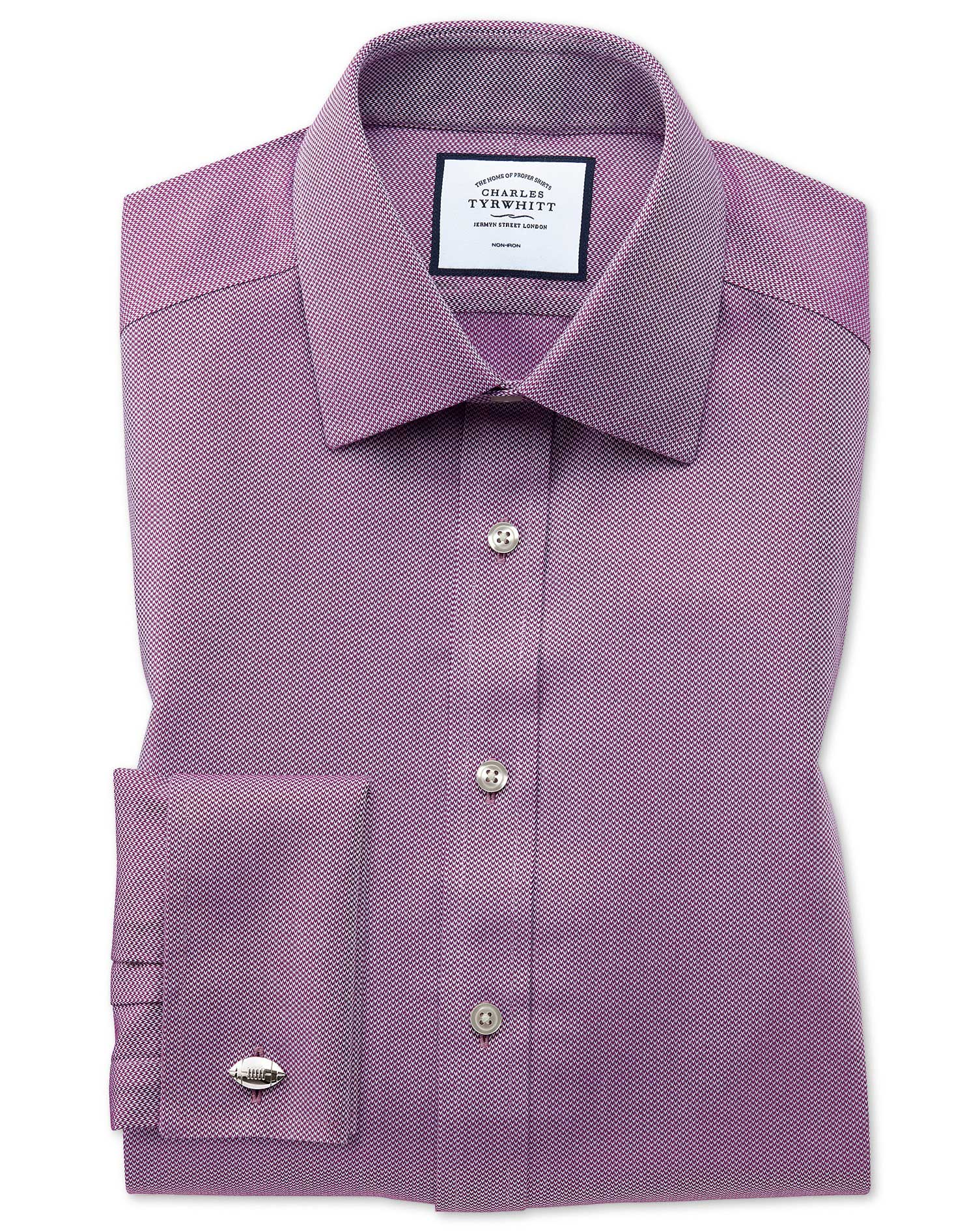 Slim Fit Non-Iron Berry Arrow Weave Cotton Formal Shirt Double Cuff Size 16.5/33 by Charles Tyrwhitt