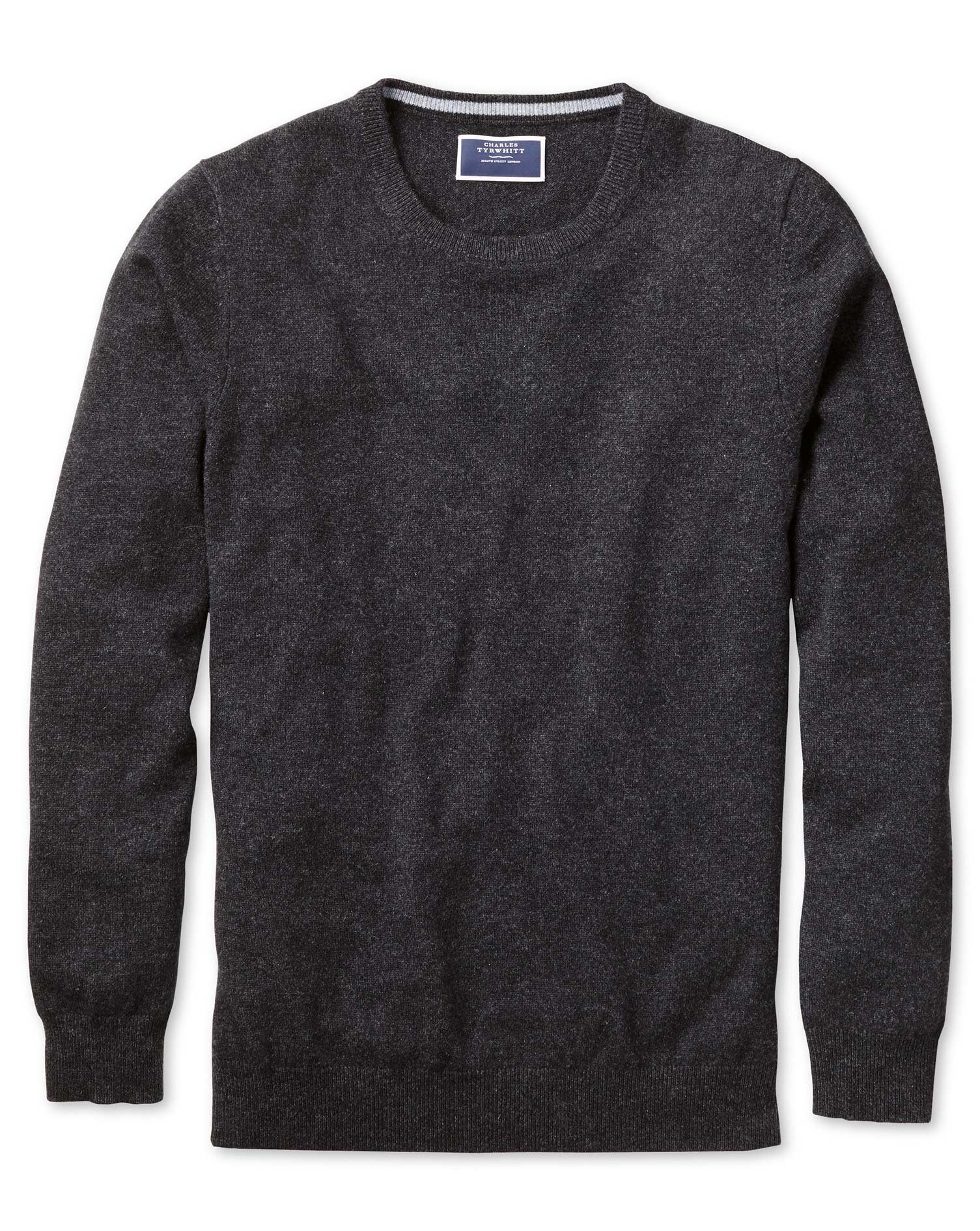 Charcoal Crew Neck Cashmere Jumper Size XL by Charles Tyrwhitt