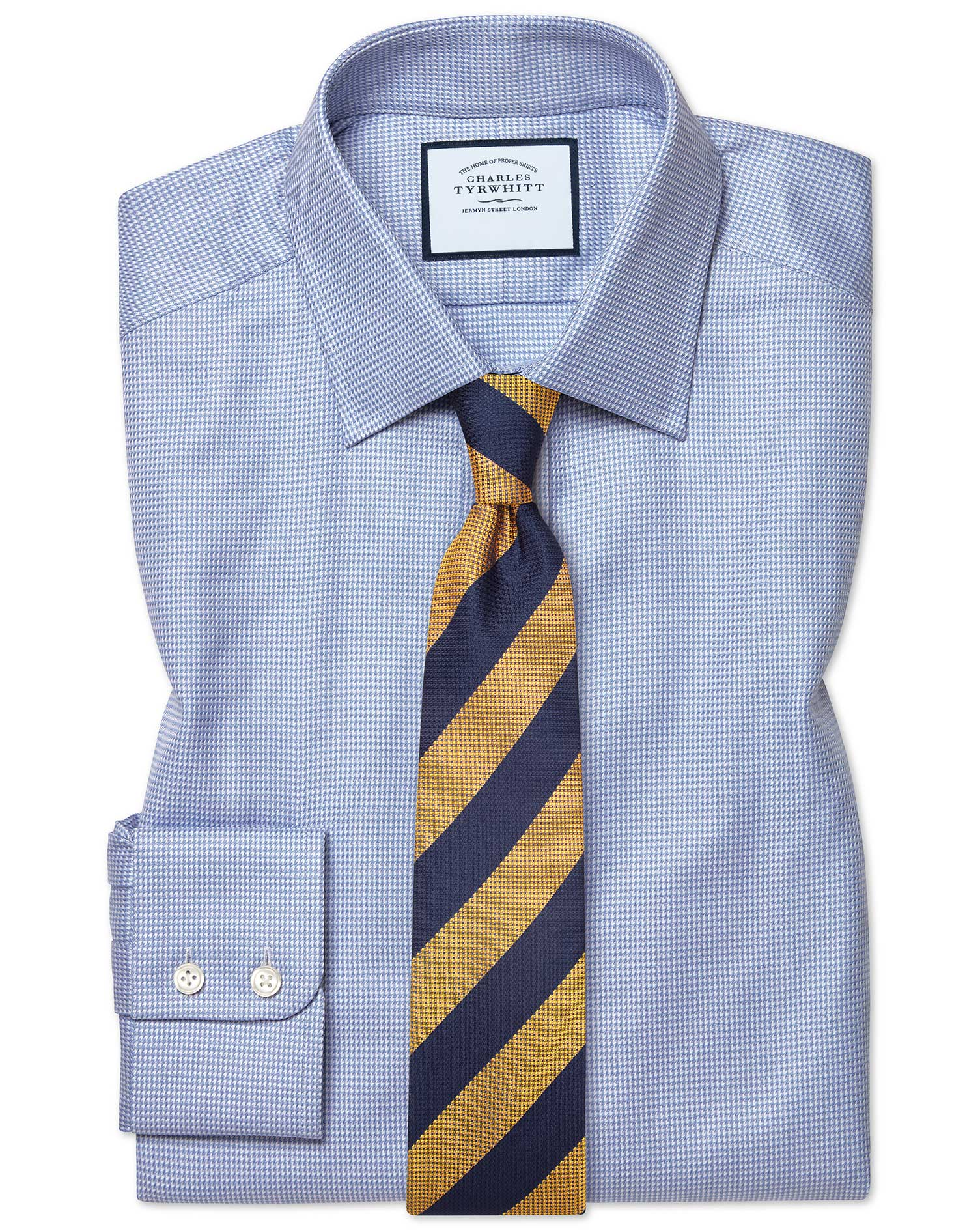 Classic Fit Egyptian Cotton Chevron Sky Blue Formal Shirt Double Cuff Size 15.5/32 by Charles Tyrwhi