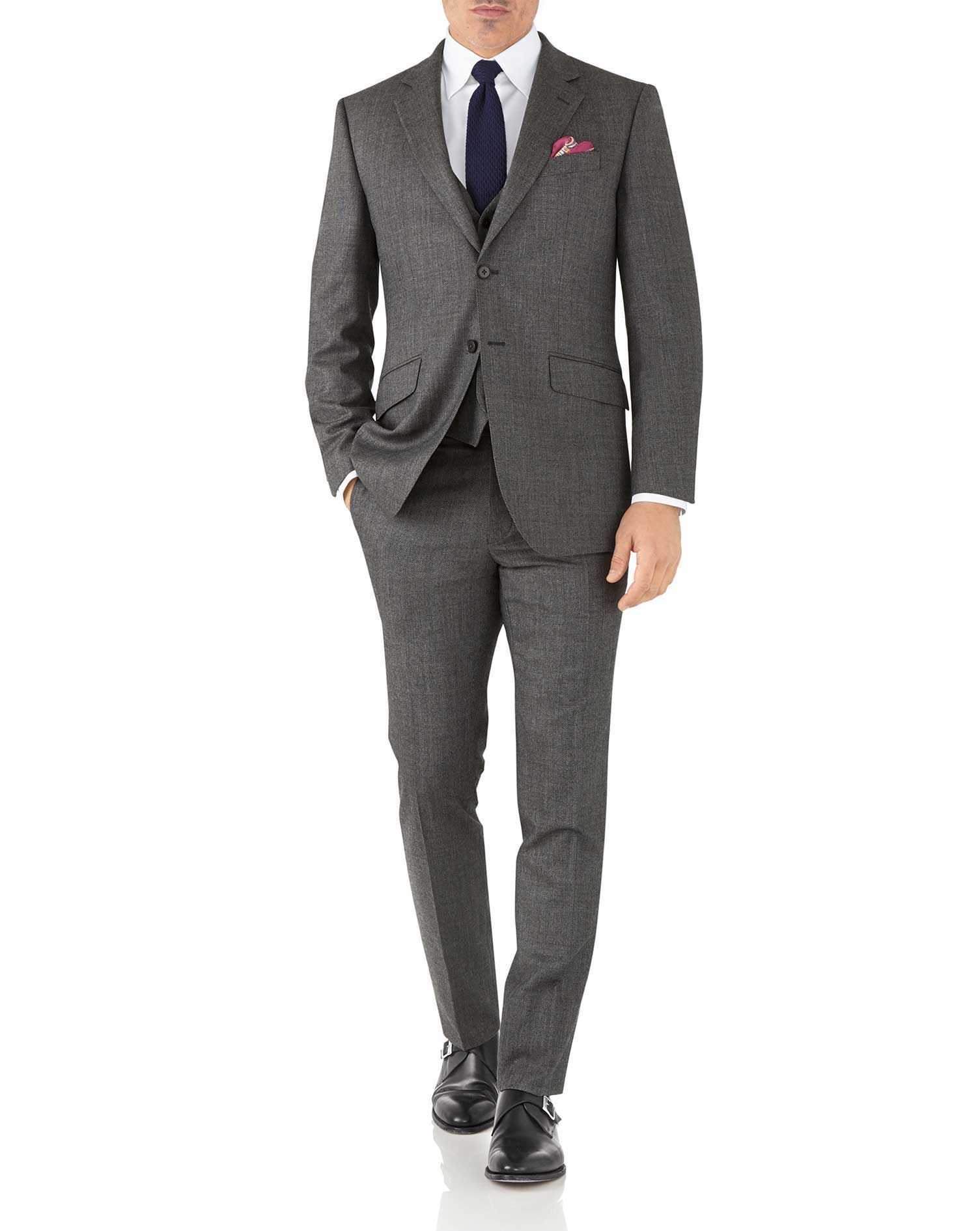 Silver slim fit flannel business suit jacket