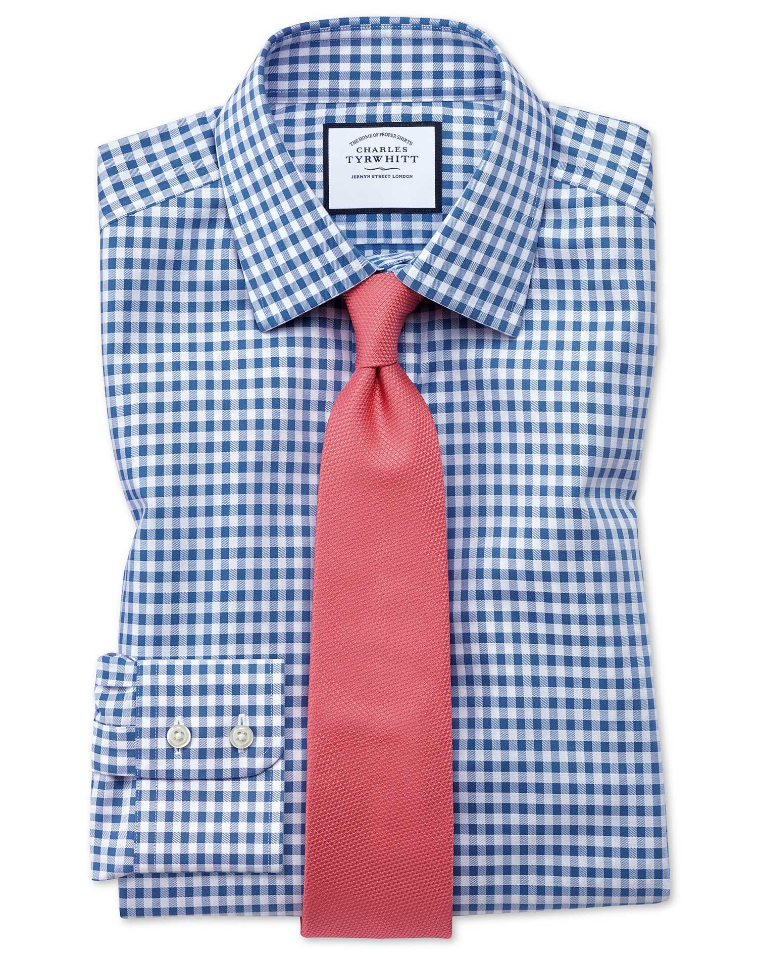 Classic Fit Non-Iron Gingham Mid Blue Cotton Formal Shirt Single Cuff Size 16/34 by Charles Tyrwhitt