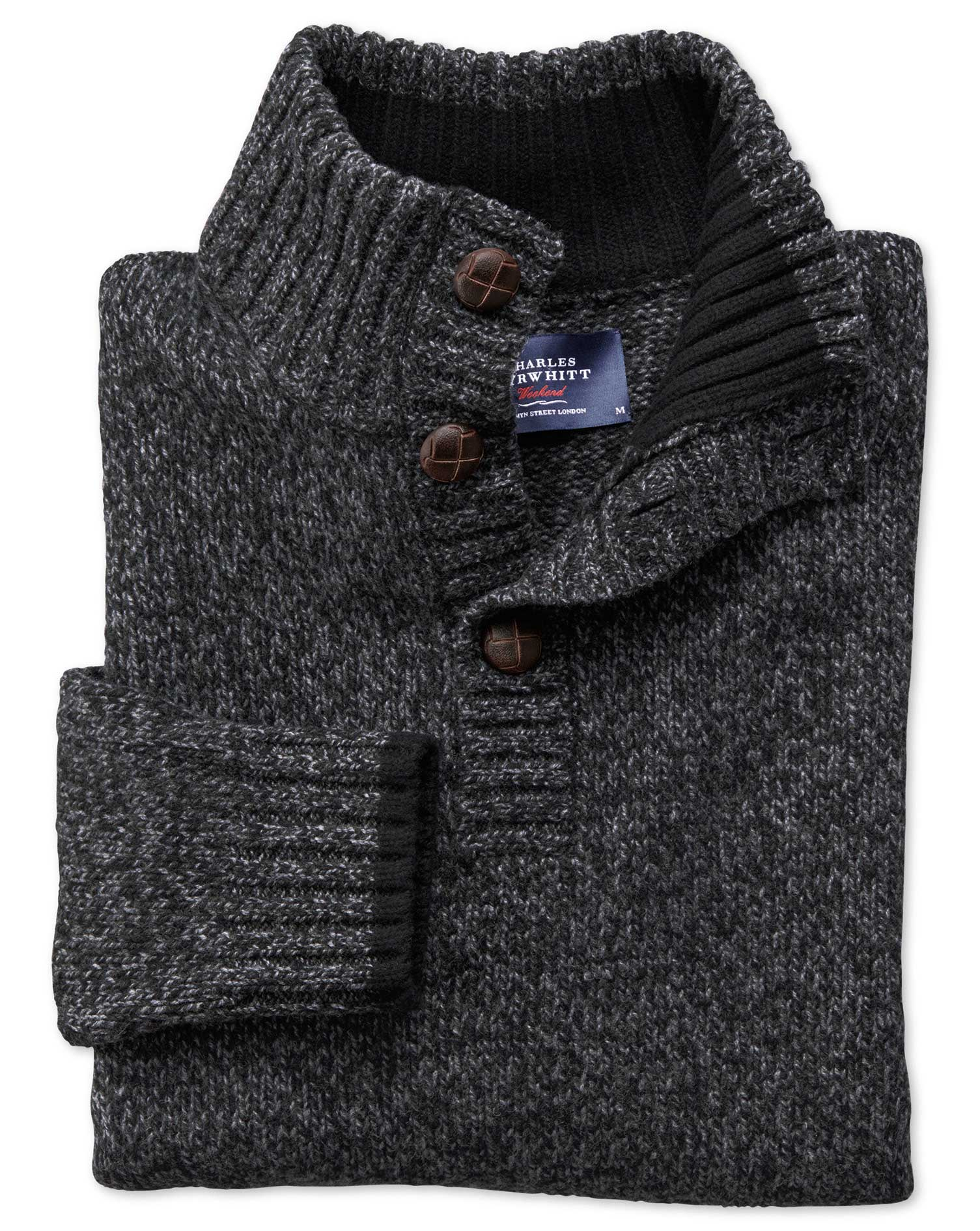 Charcoal Mouline Button Neck Wool Jumper Size Small by Charles Tyrwhitt