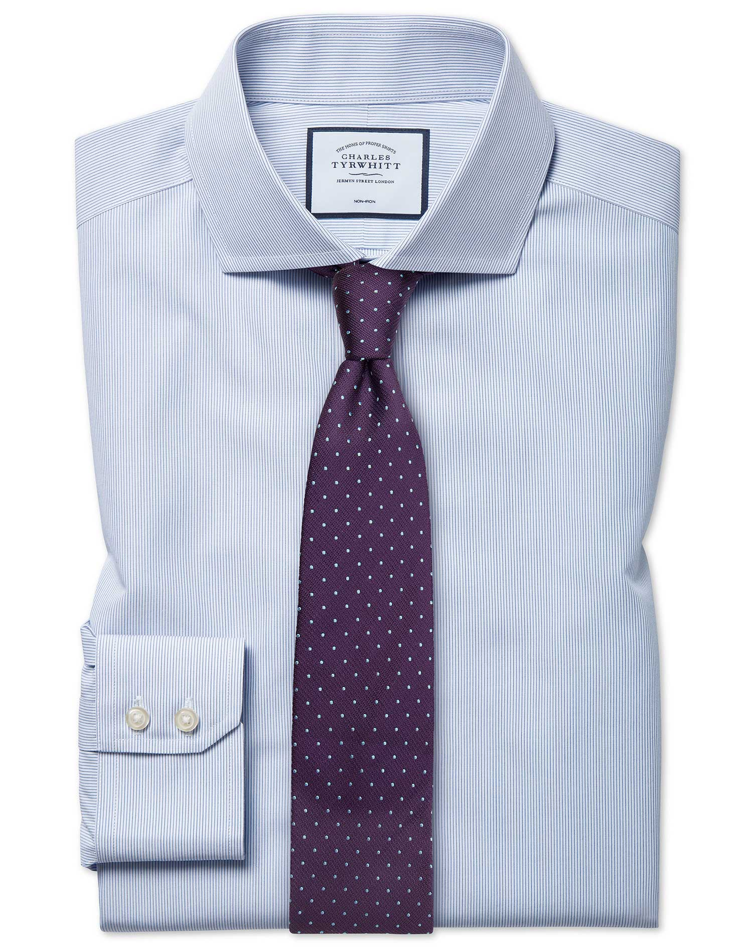 Slim Fit Non-Iron Blue Stripe Tyrwhitt Cool Cotton Formal Shirt Single Cuff Size 17/38 by Charles Ty