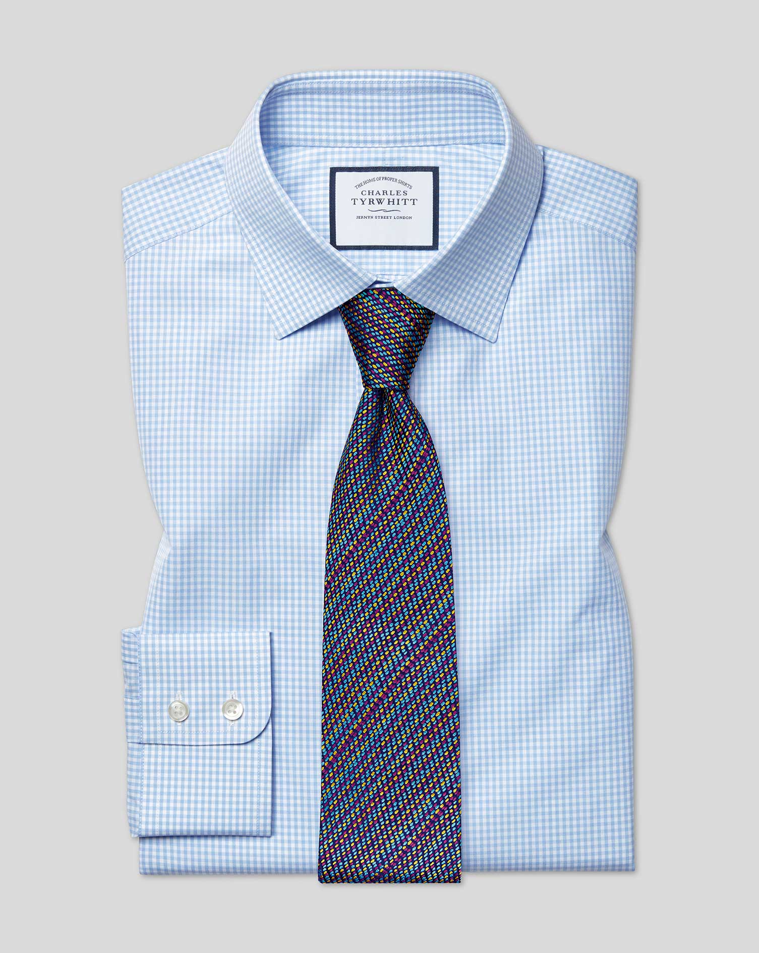 Slim Fit Sky Blue Small Gingham Cotton Formal Shirt Single Cuff Size 16.5/36 by Charles Tyrwhitt