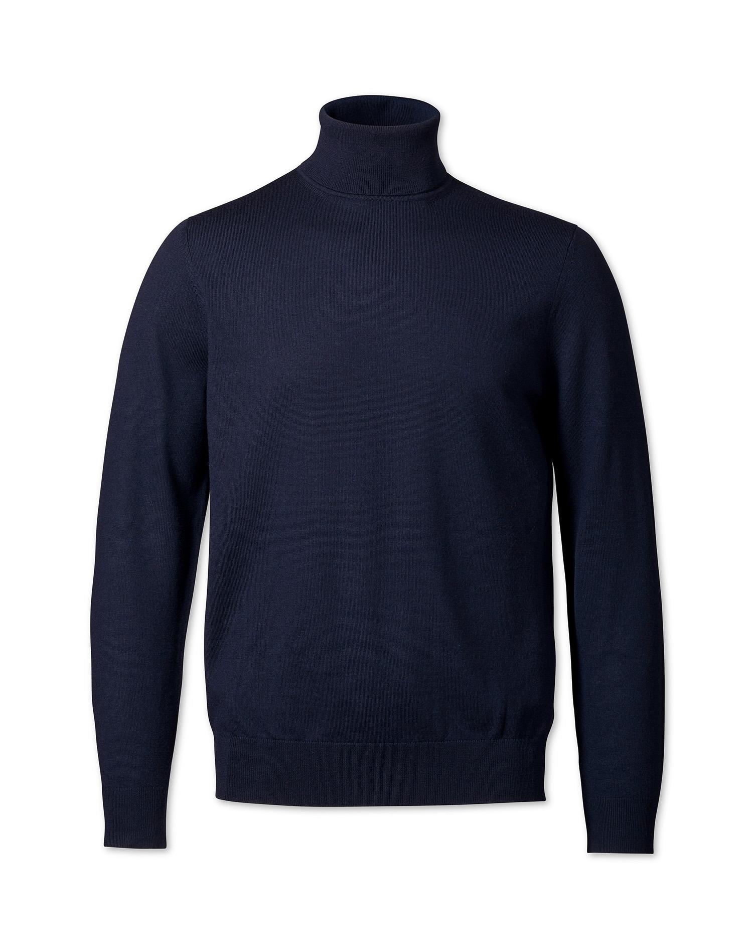 Navy merino wool roll neck sweater | Charles Tyrwhitt