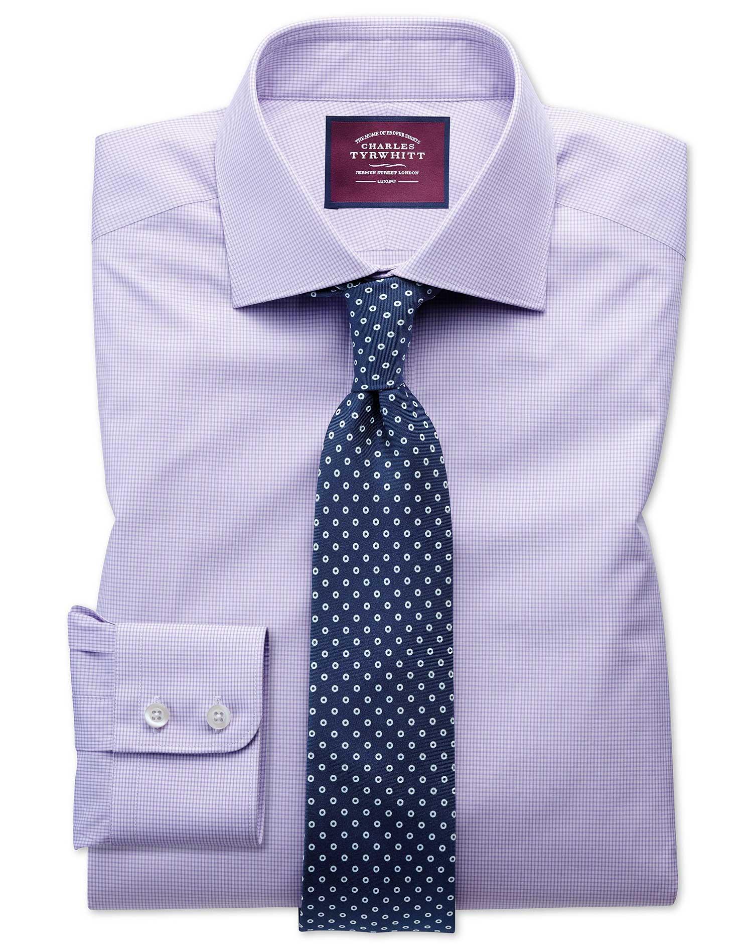 Classic Fit Semi-Cutaway Luxury Poplin Lilac and White Egyptian Cotton Formal Shirt Single Cuff Size