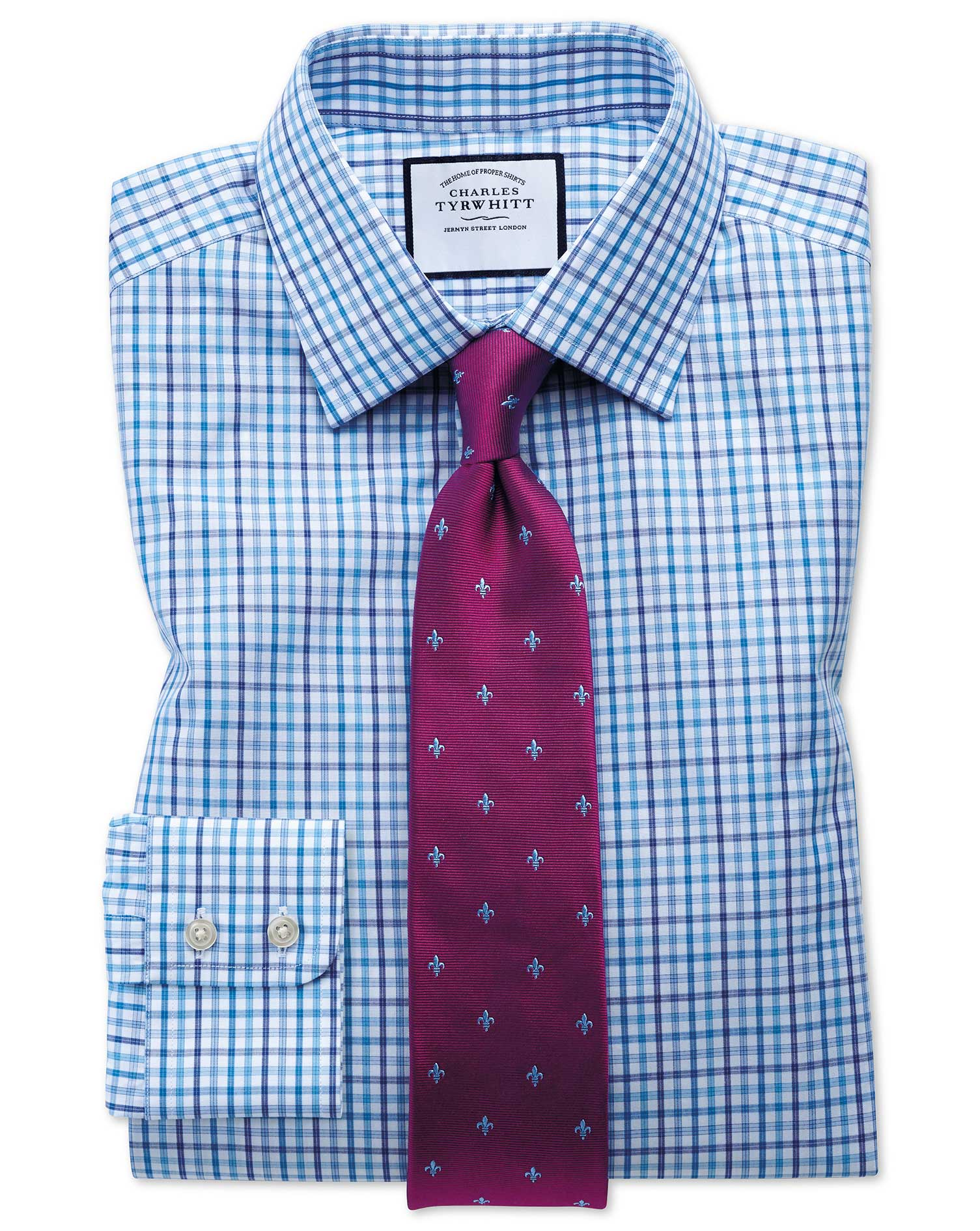 Extra Slim Fit Poplin Multi Blue Check Cotton Formal Shirt Single Cuff Size 15.5/32 by Charles Tyrwh