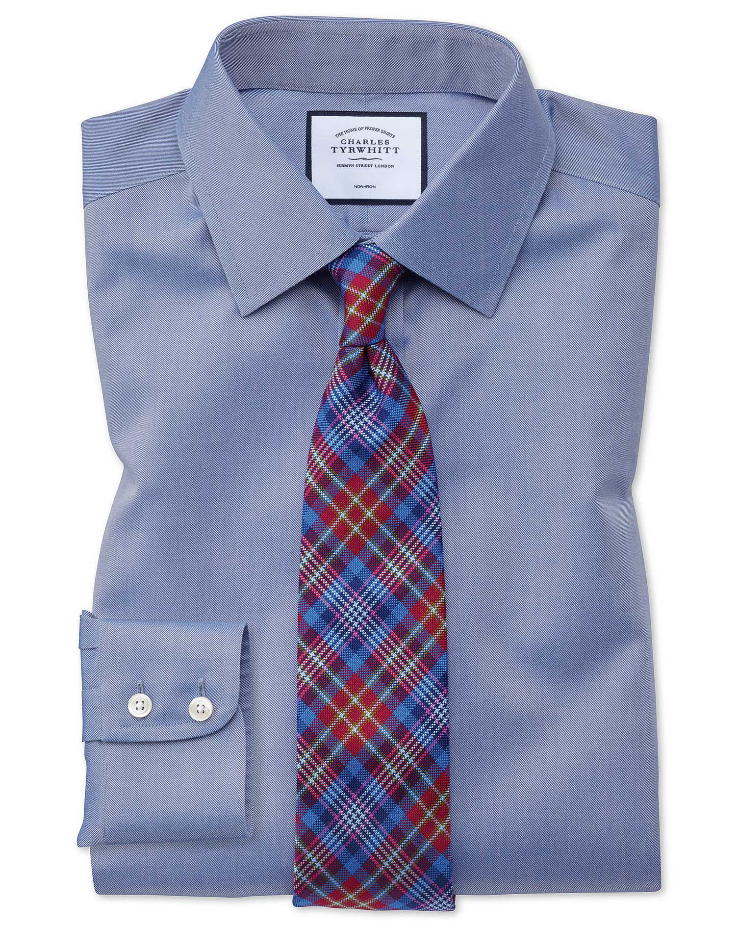 Slim Fit Mid-Blue Non-Iron Twill Cotton Formal Shirt Single Cuff Size 14.5/33 by Charles Tyrwhitt