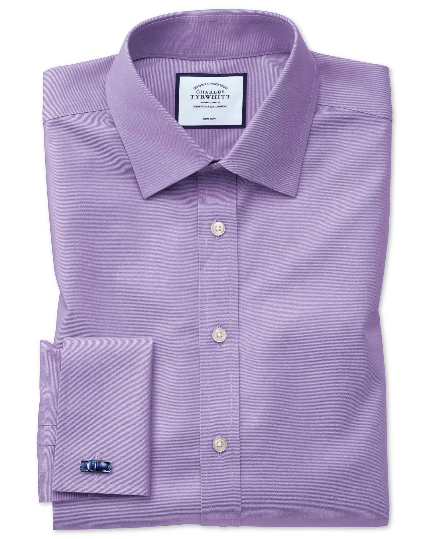 Lilac Non-Iron Twill Classic Fit Single Cuff Size 16/34 by Charles Tyrwhitt