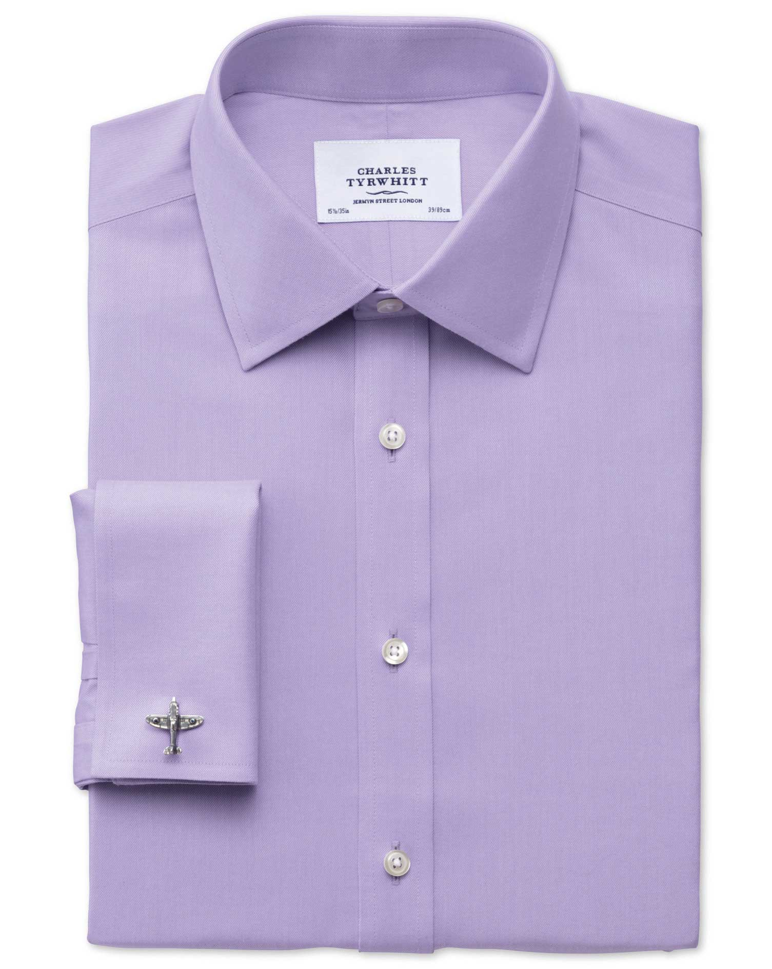 Classic Fit Non-Iron Twill Lilac Cotton Formal Shirt Double Cuff Size 15/35 by Charles Tyrwhitt