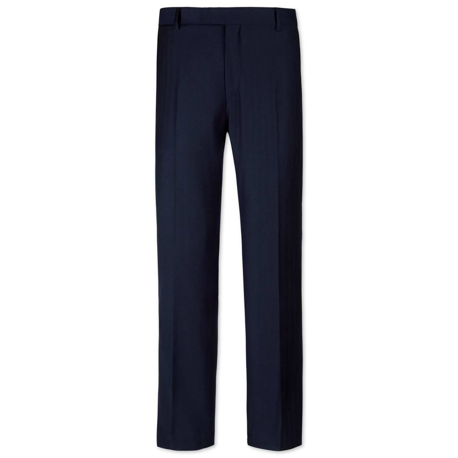 Navy Slim Fit Herringbone Yorkshire Worsted Luxury Suit Trousers Size W30 L38 by Charles Tyrwhitt