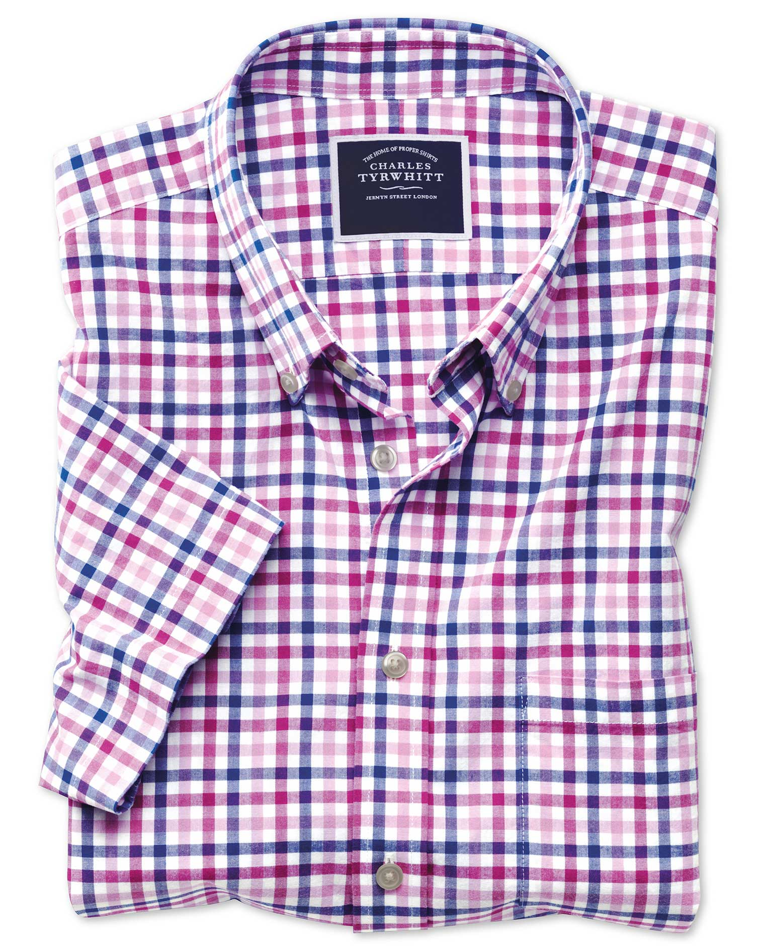 b1266b31c6240 Clearance. Slim fit poplin short sleeve pink multi gingham shirt · Clearance