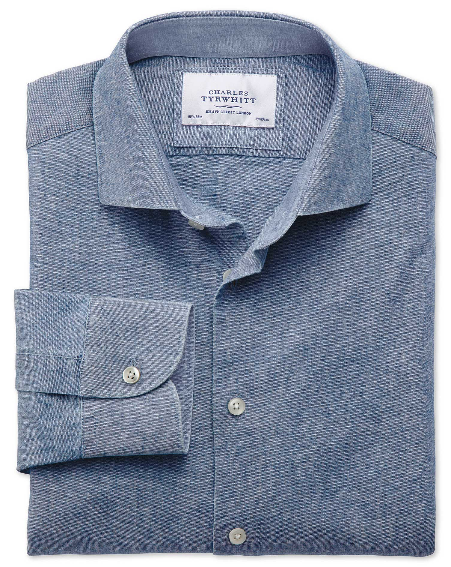Extra Slim Fit Semi-Cutaway Collar Business Casual Chambray Mid Blue Cotton Formal Shirt Single Cuff
