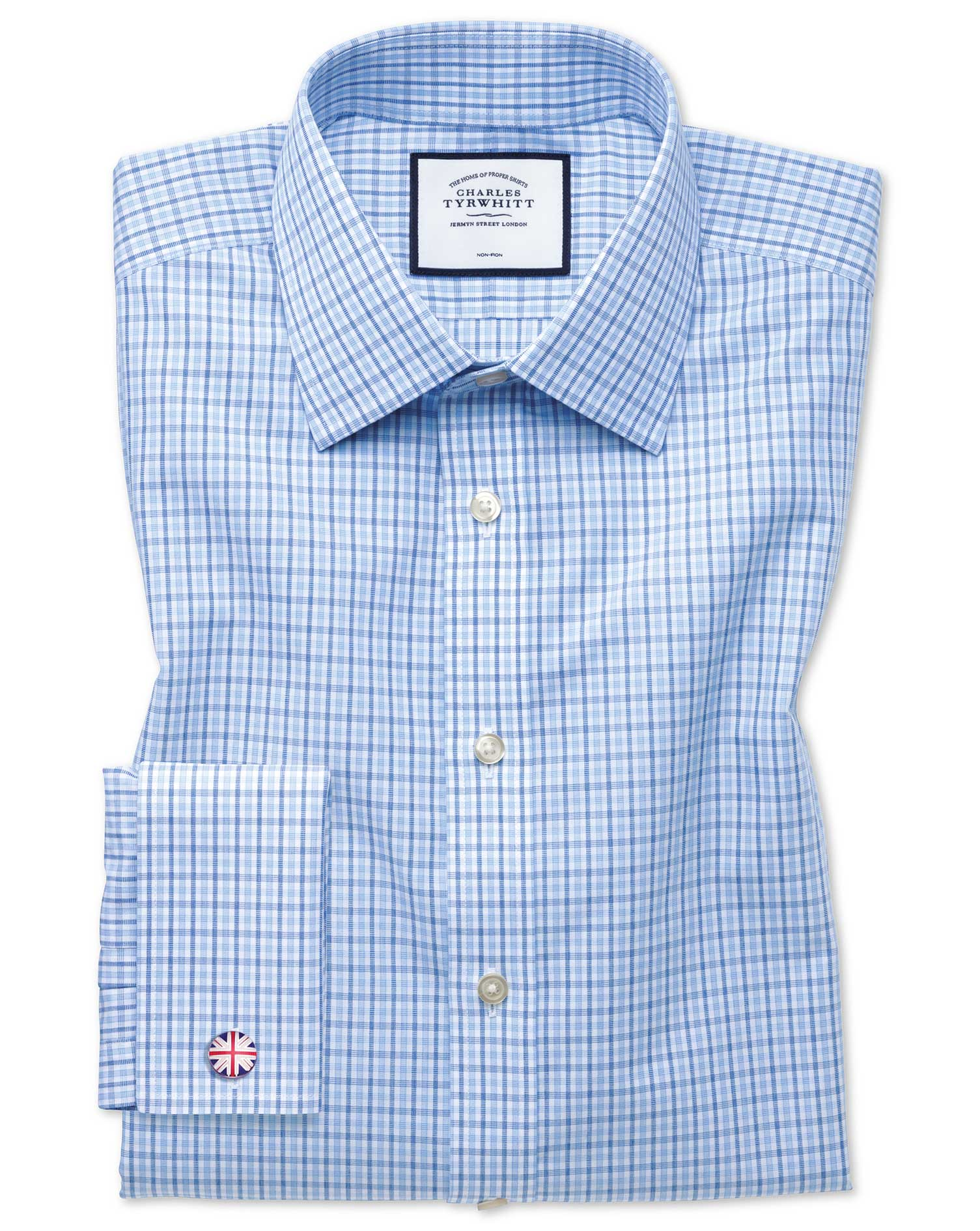 Classic Fit Non-Iron Poplin Blue and Sky Blue Cotton Formal Shirt Double Cuff Size 16/36 by Charles