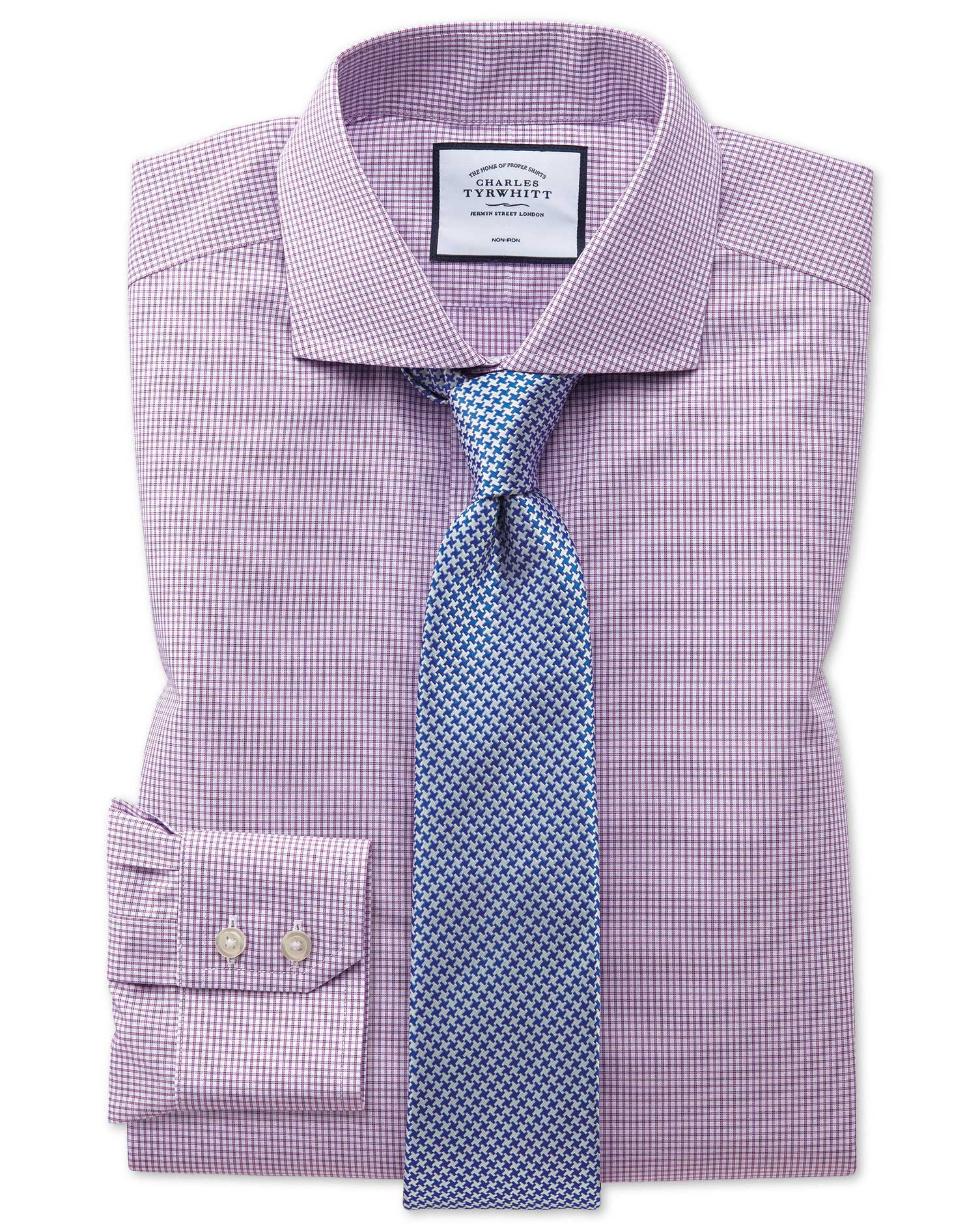 Extra Slim Fit Non-Iron Natural Cool Pink Check Cotton Formal Shirt Single Cuff Size 16.5/34 by Char