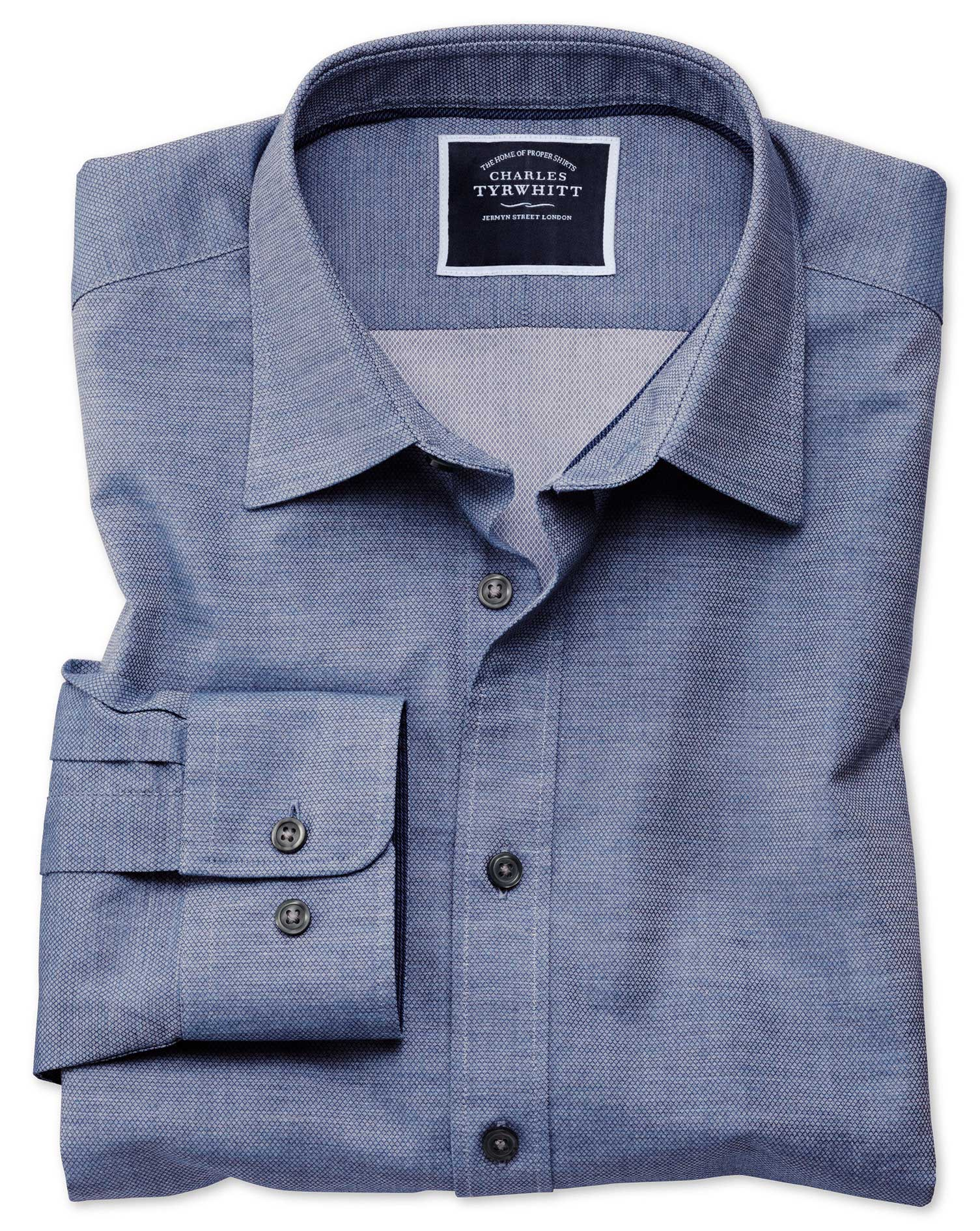 Slim Fit Blue Soft Textured Cotton Shirt Single Cuff Size XS by Charles Tyrwhitt