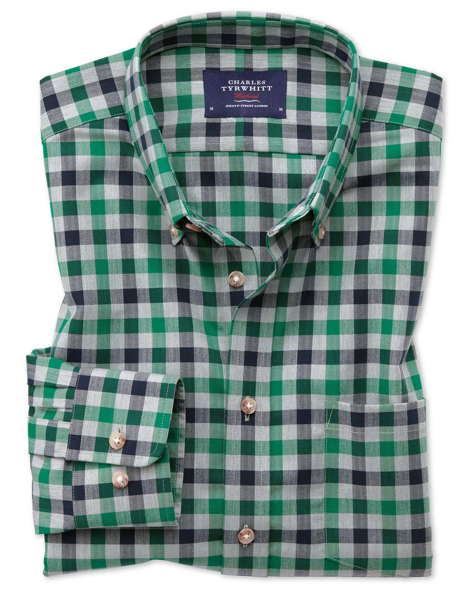 Classic Fit Button-Down Non-Iron Twill Green and Navy Gingham Cotton Shirt Single Cuff Size XL by Ch